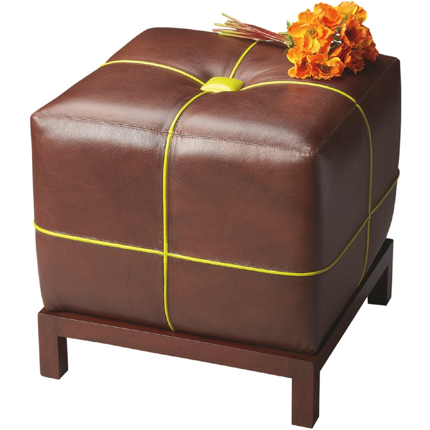 Elements Rubbed Medium Brown Wood Ottoman ~ Butler specialty modern expressions bunching