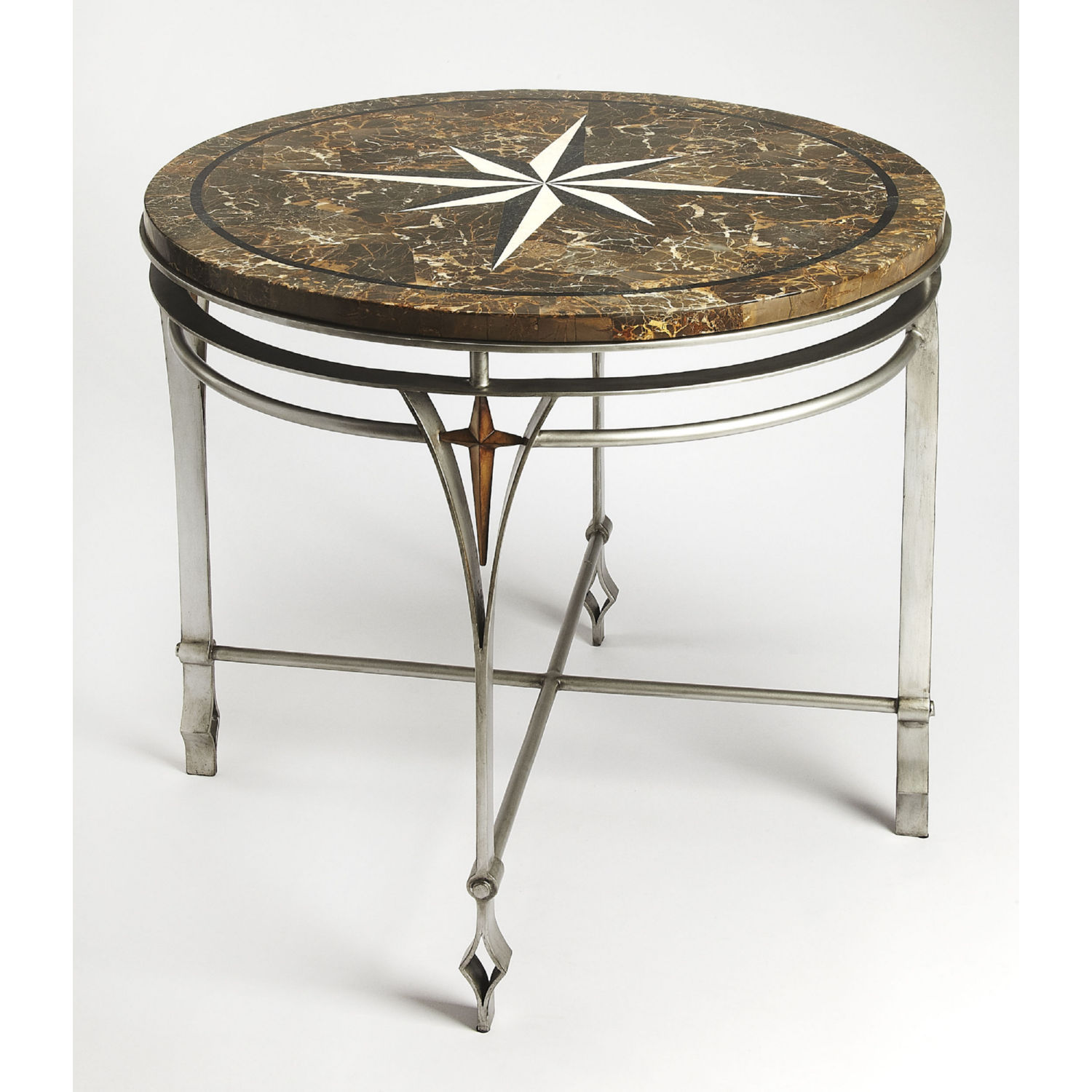 - Butler 5277025 Regina Foyer Accent Table In Fossil Stone & Silver