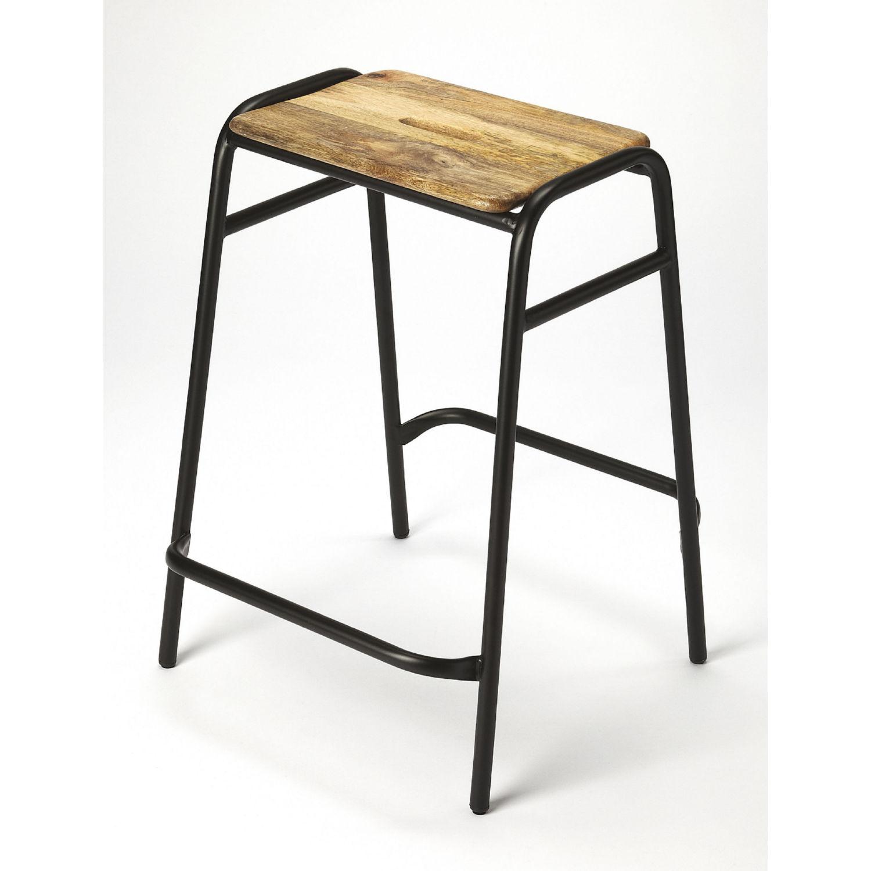 Counter Stool In Mango Wood Black Iron