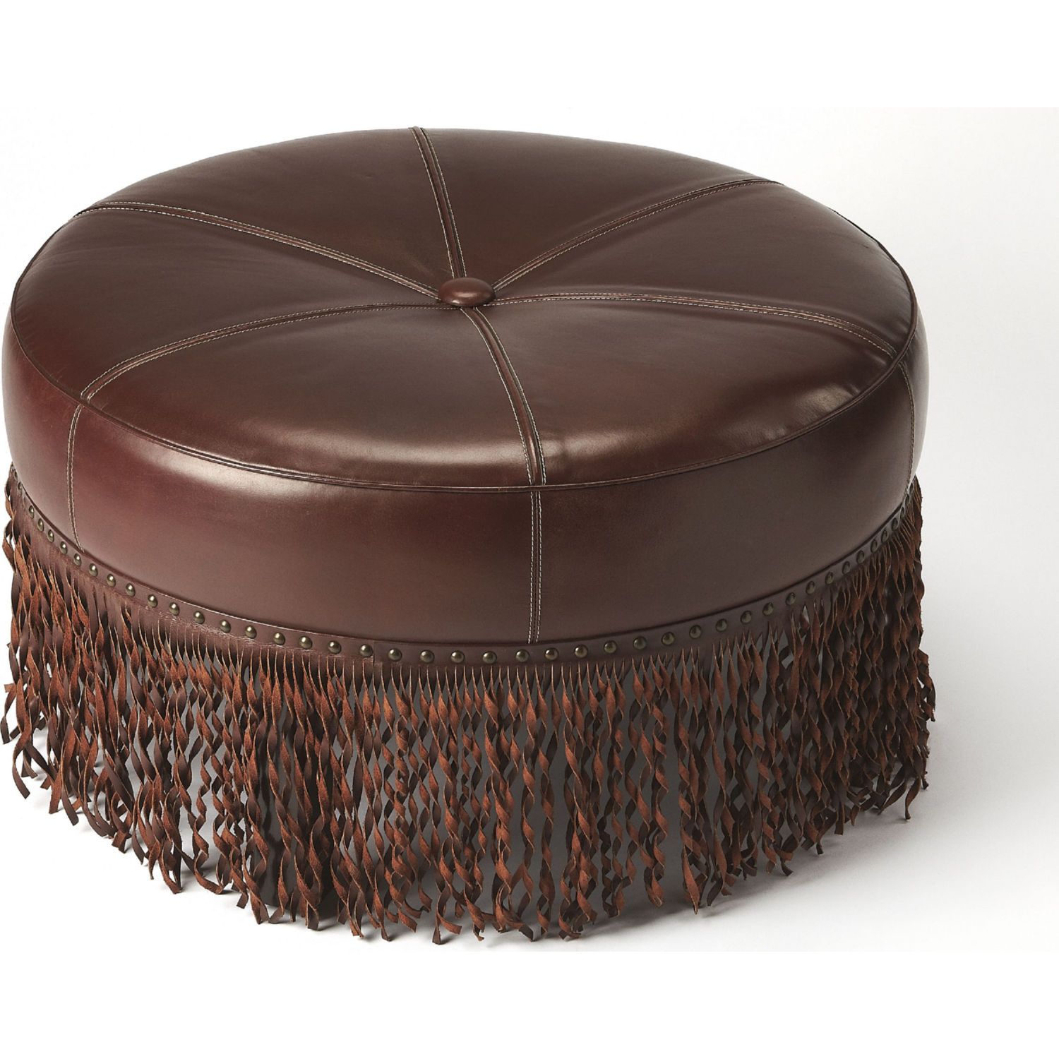 Brilliant Alina Round Cocktail Ottoman In Tufted Chestnut Brown Leather By Butler Specialty Beatyapartments Chair Design Images Beatyapartmentscom