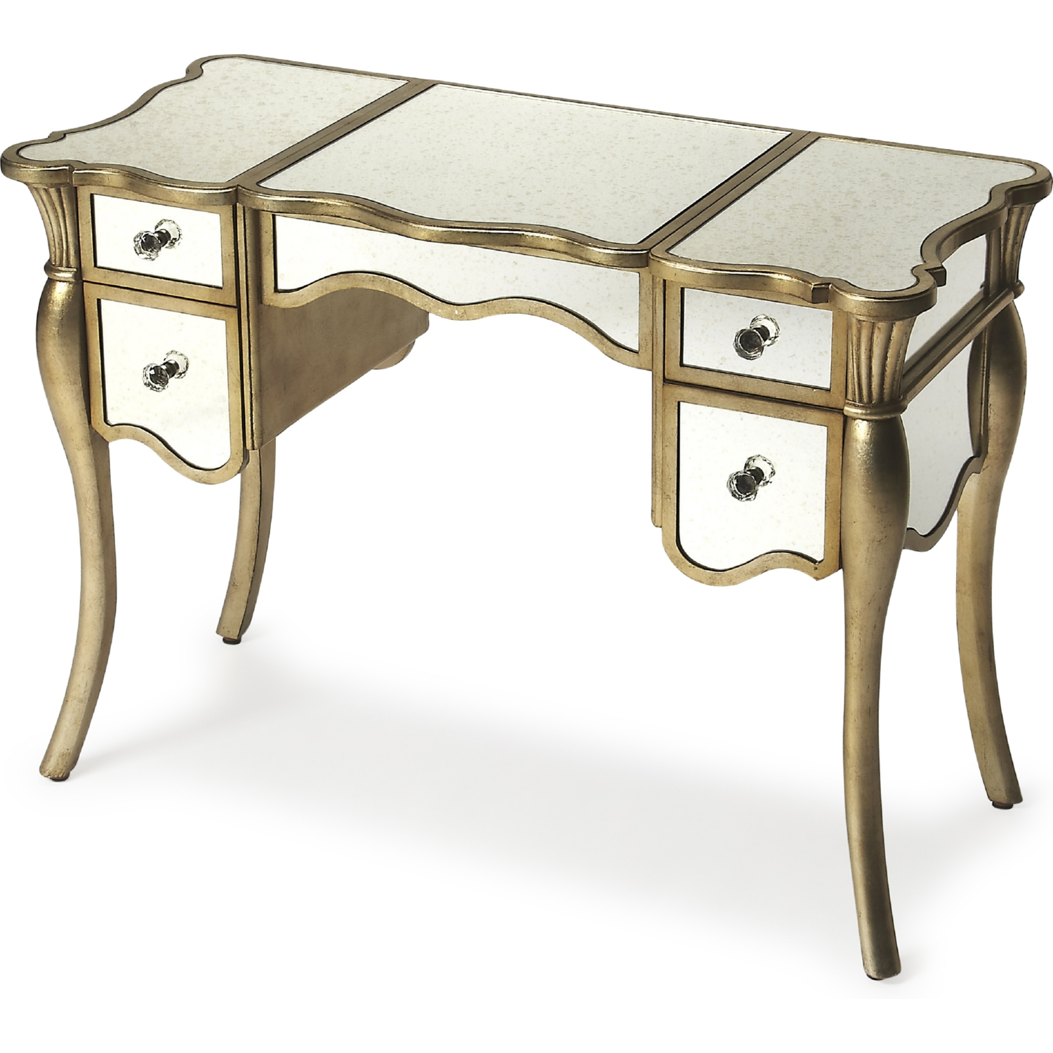 Butler specialty 9200345 isabella silver leaf vanity table for Silver vanity table