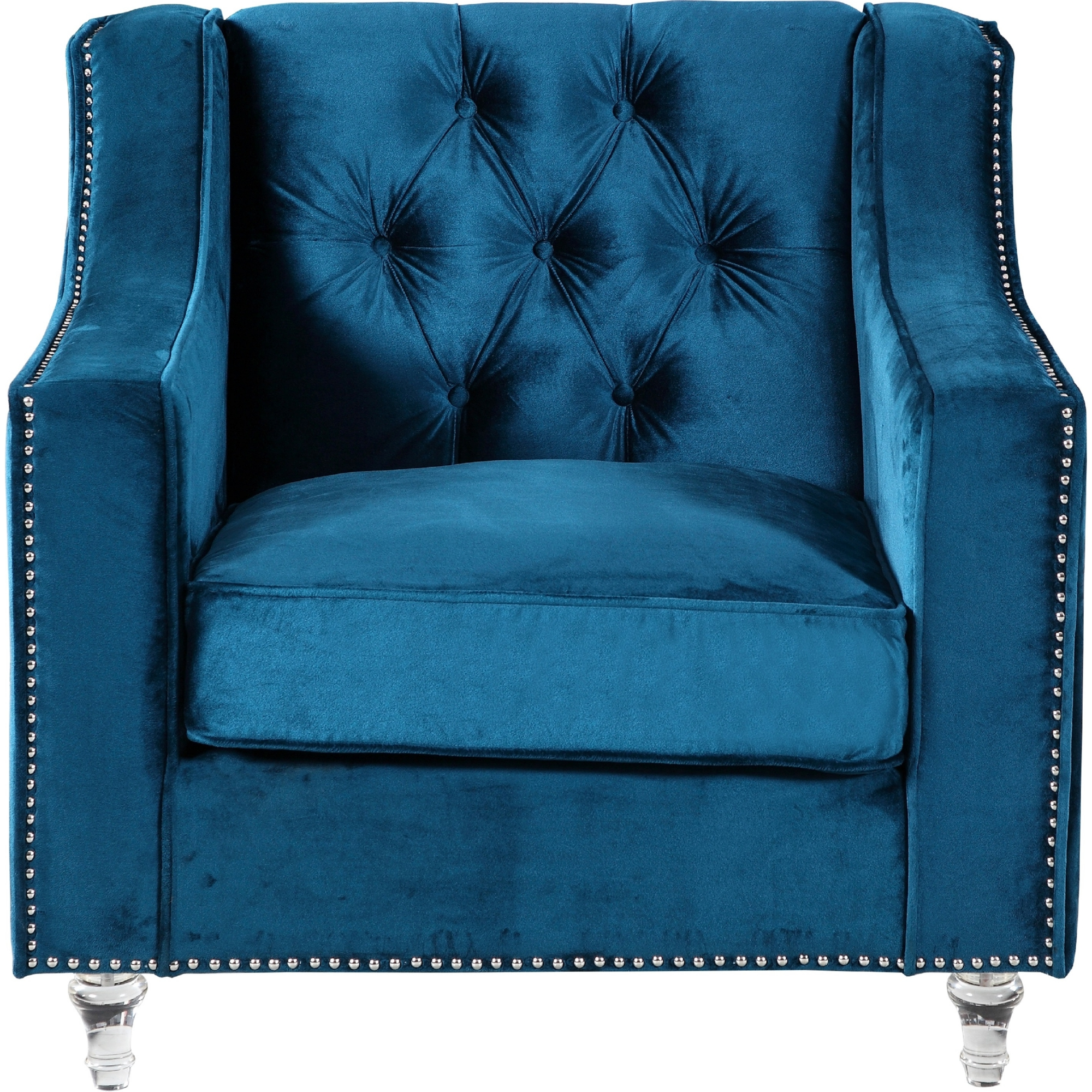 Chic Home FCC2574 Dylan Club Chair in Tufted Navy Blue Velvet on