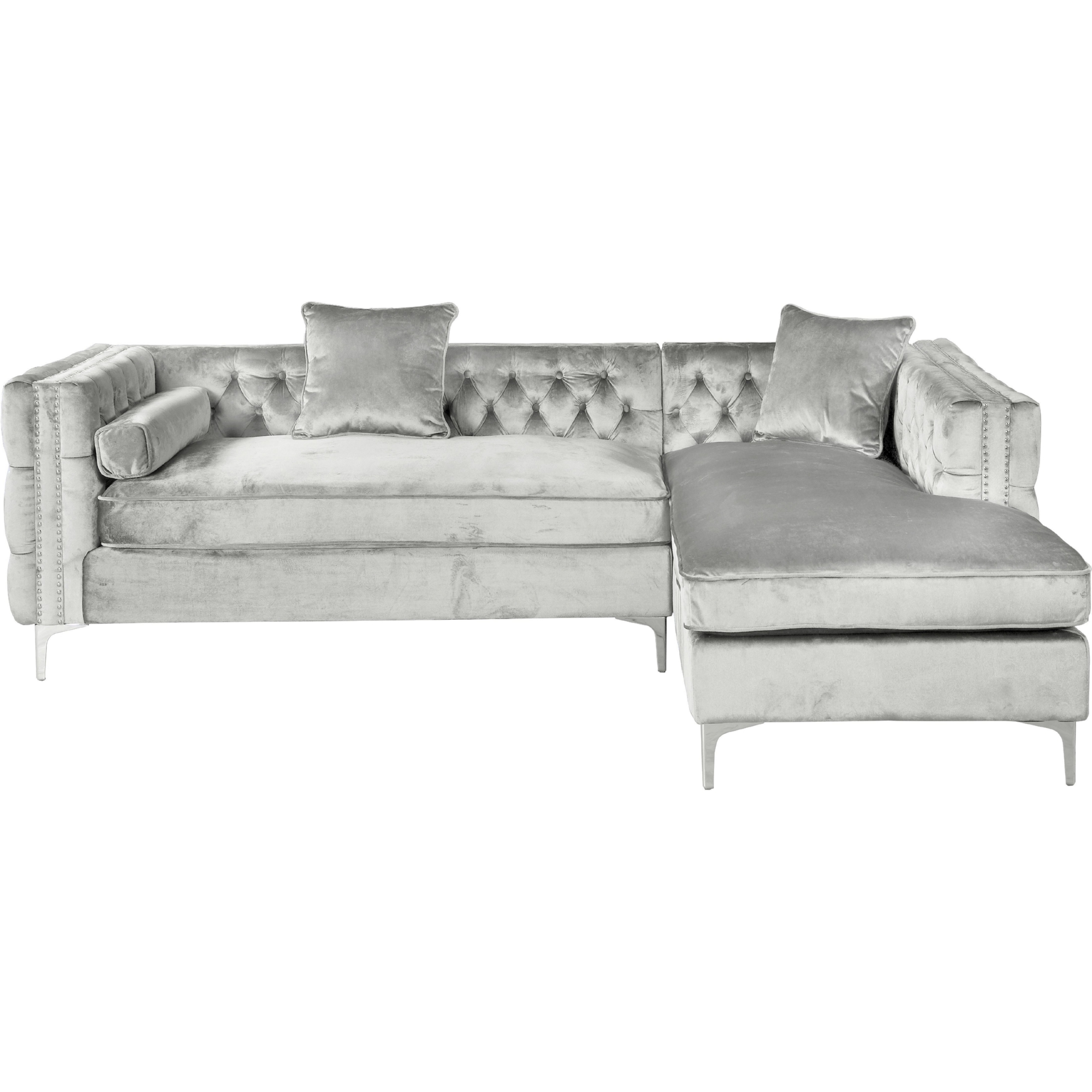 Wondrous Da Vinci Sectional Sofa W Right Chaise In Tufted Silver Velvet W Nailhead Trim On Metal Leg By Chic Home Beatyapartments Chair Design Images Beatyapartmentscom