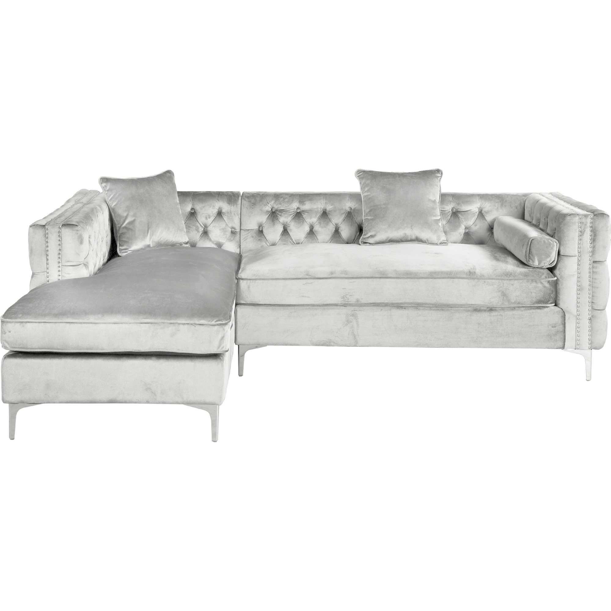 Da Vinci Sectional Sofa W Left Chaise In Tufted Silver Velvet Nailhead Trim On Metal Leg By Chic Home