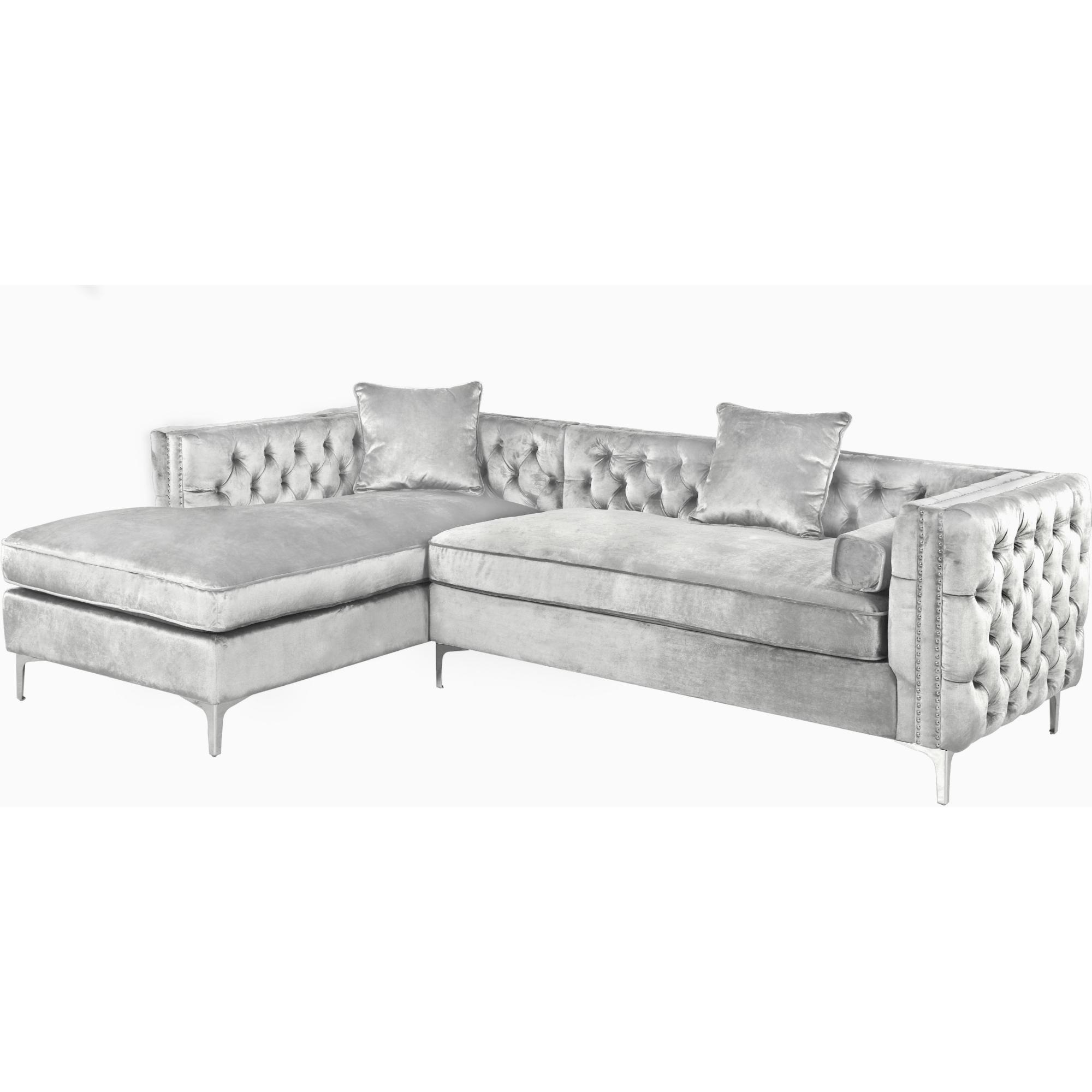 Da Vinci Sectional Sofa W/ Left Hand Chaise In Tufted Silver Velvet