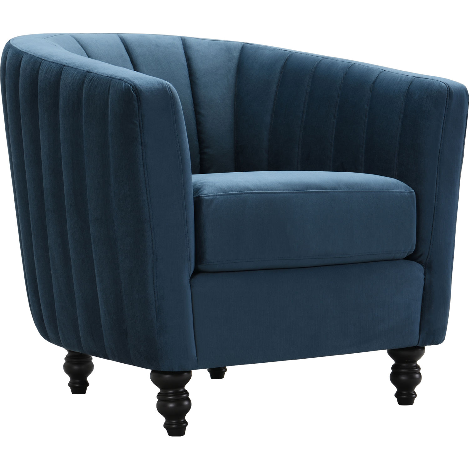 Riviera Accent Chair In Channel Tufted Blue Velvet On Turned Wood Legs By Chic Home