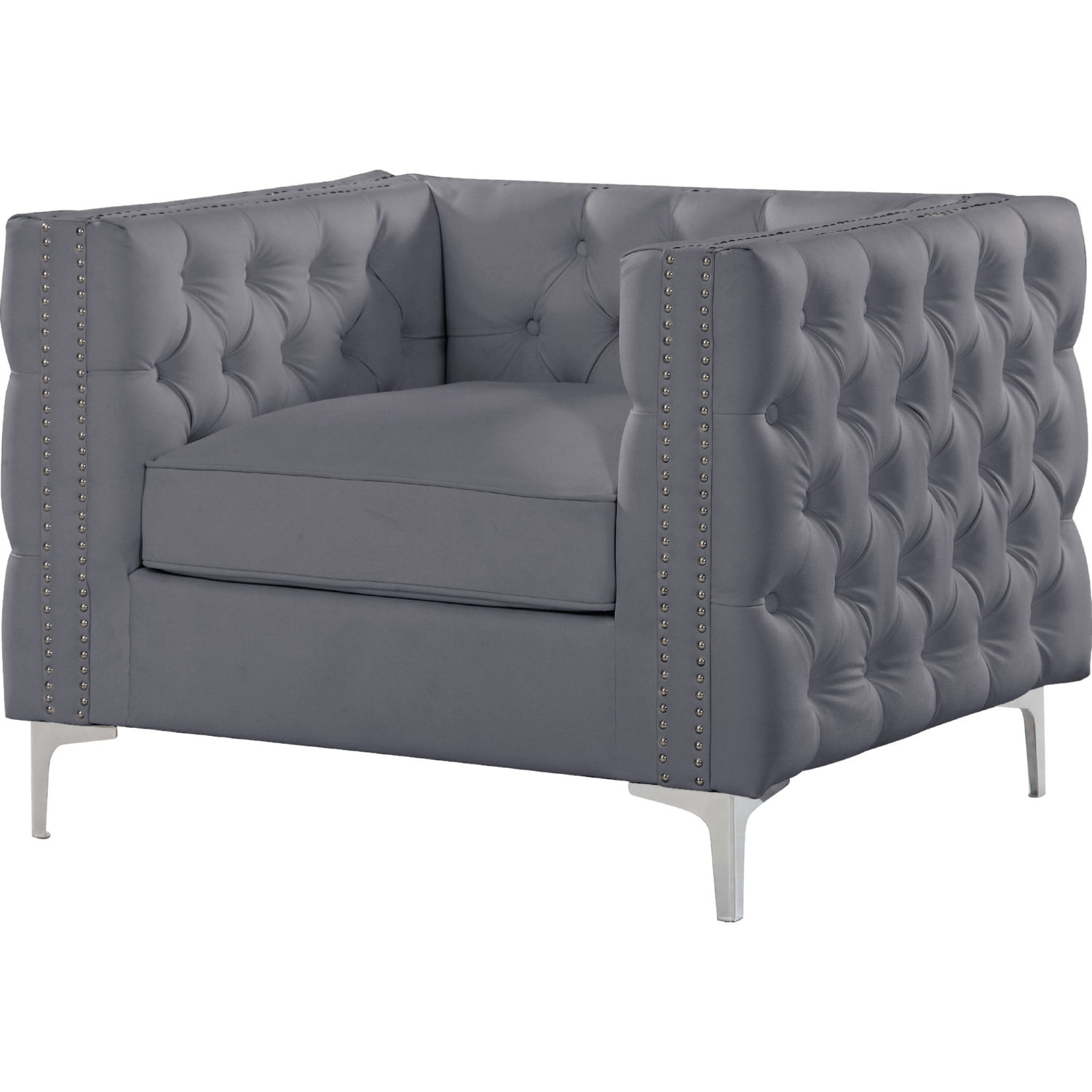 Tremendous Da Vinci Club Chair In Tufted Grey Leatherette W Nailhead Trim On Metal Leg By Chic Home Pabps2019 Chair Design Images Pabps2019Com