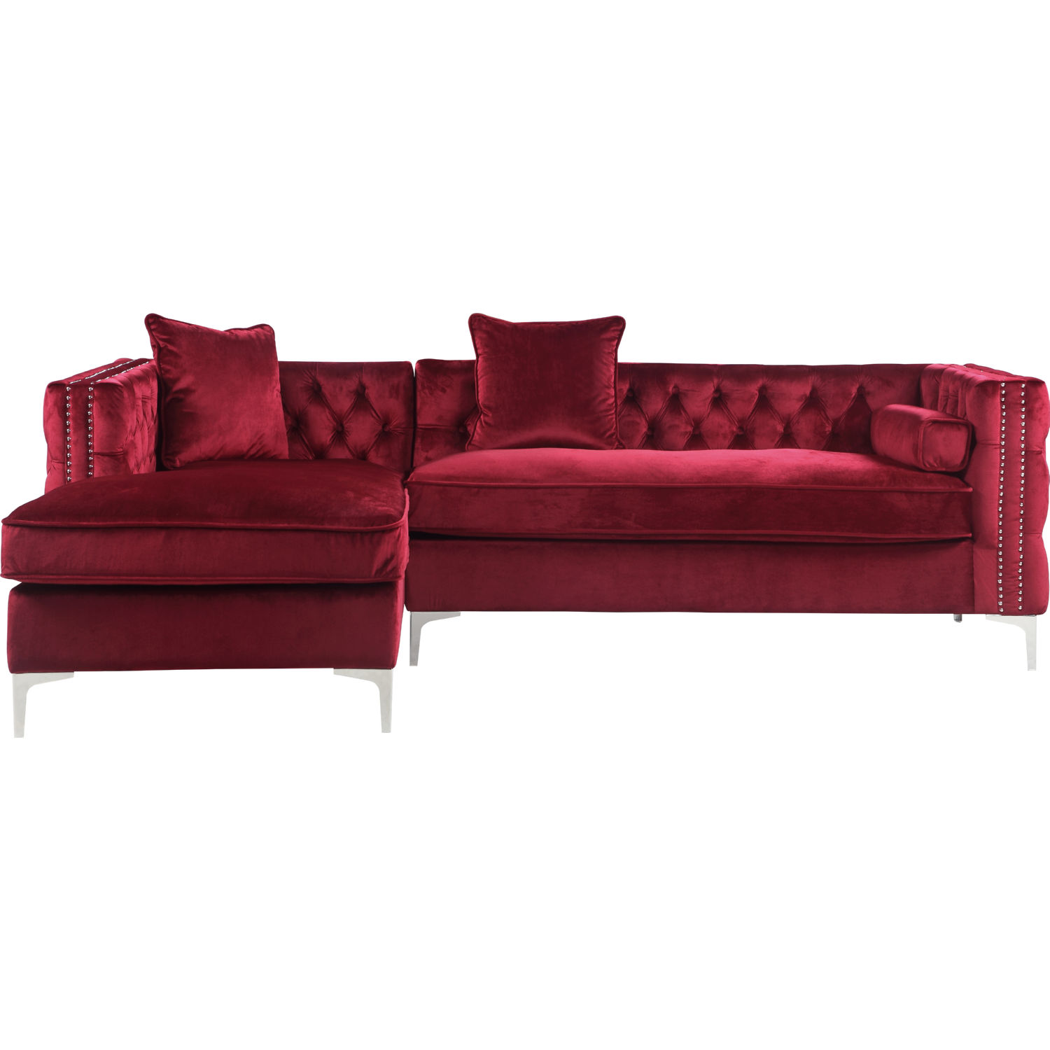Da Vinci Sectional Sofa w/ Left Chaise in Tufted Red Velvet by Chic Home
