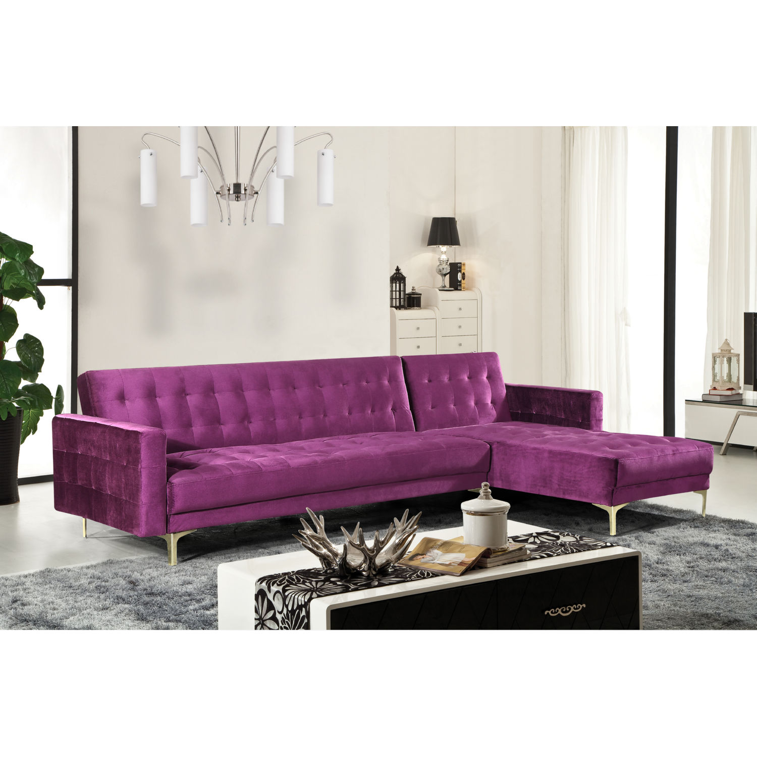 Astounding Amandal Sectional Sofa W Right Chaise In Tufted Purple Velvet By Chic Home Ncnpc Chair Design For Home Ncnpcorg