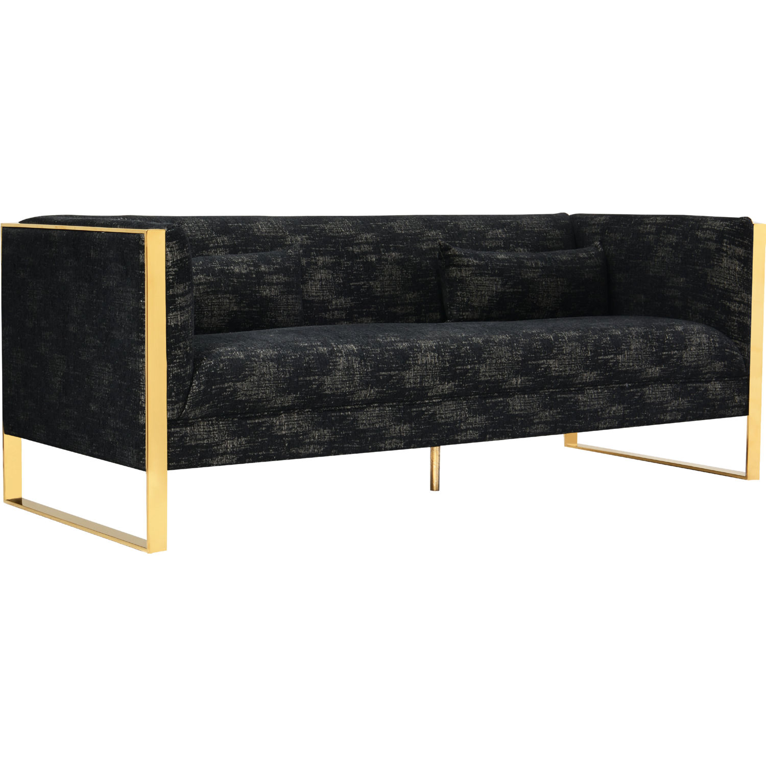 Louvre Sofa in Textured Black Fabric on Gold Metal Frame by Chic Home