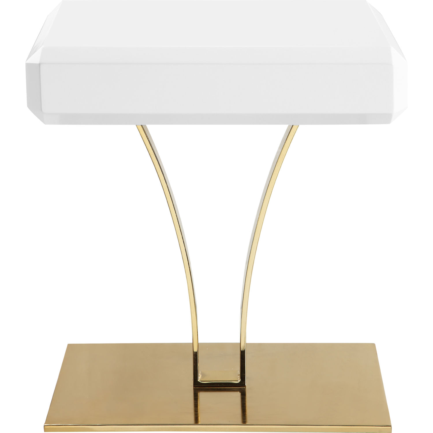 Rochelle Side Table In White On Gold Metal Base By Chic Home