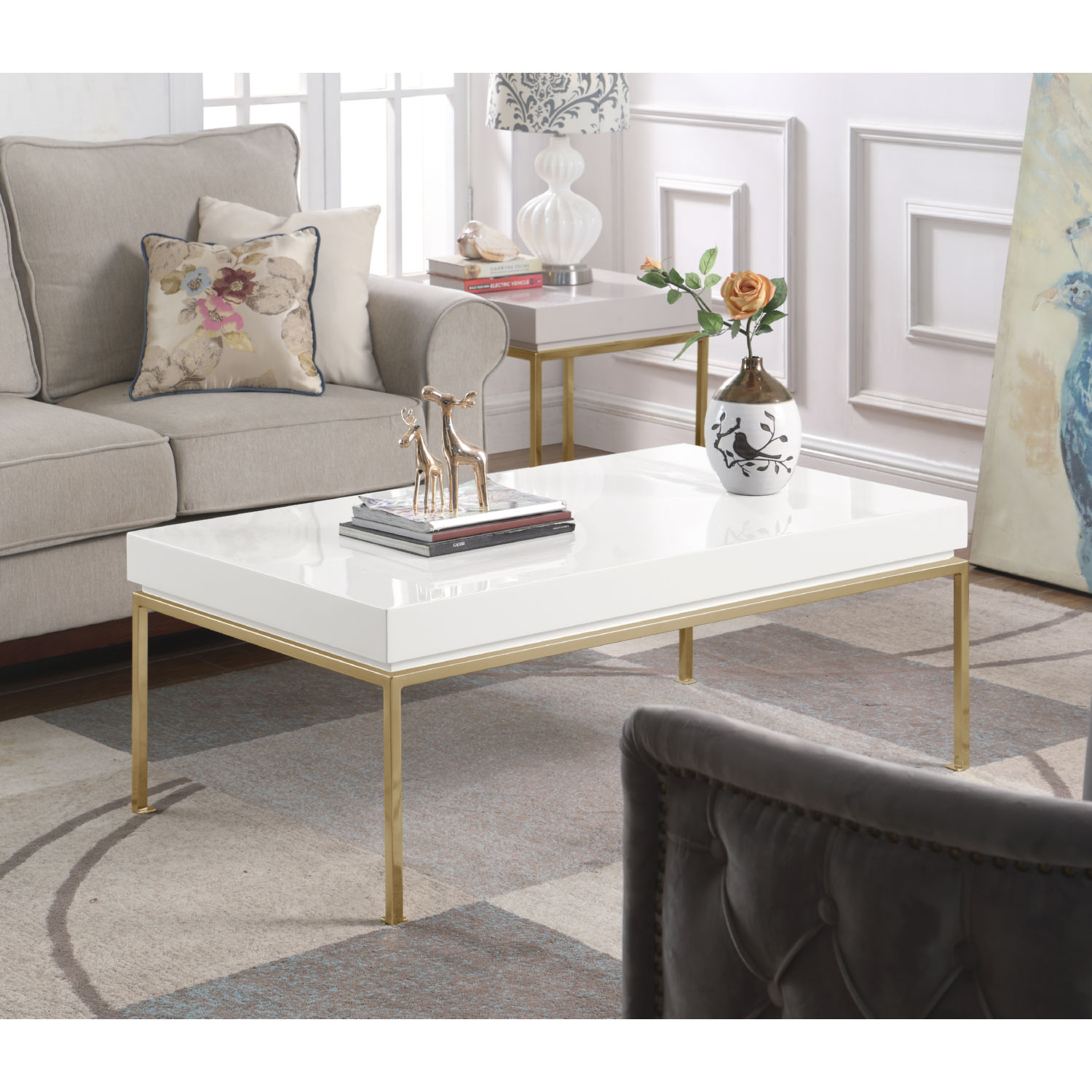 Chic Home Fst2958 Dr Alcee Side Table In High Gloss White