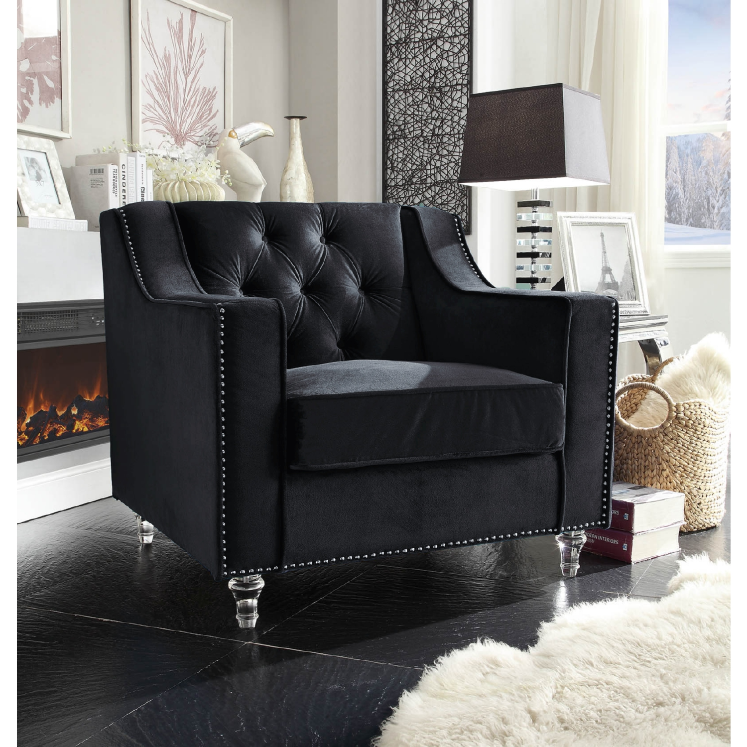 Chic Home FCC2575 Dylan Club Chair in Tufted Black Velvet on Round