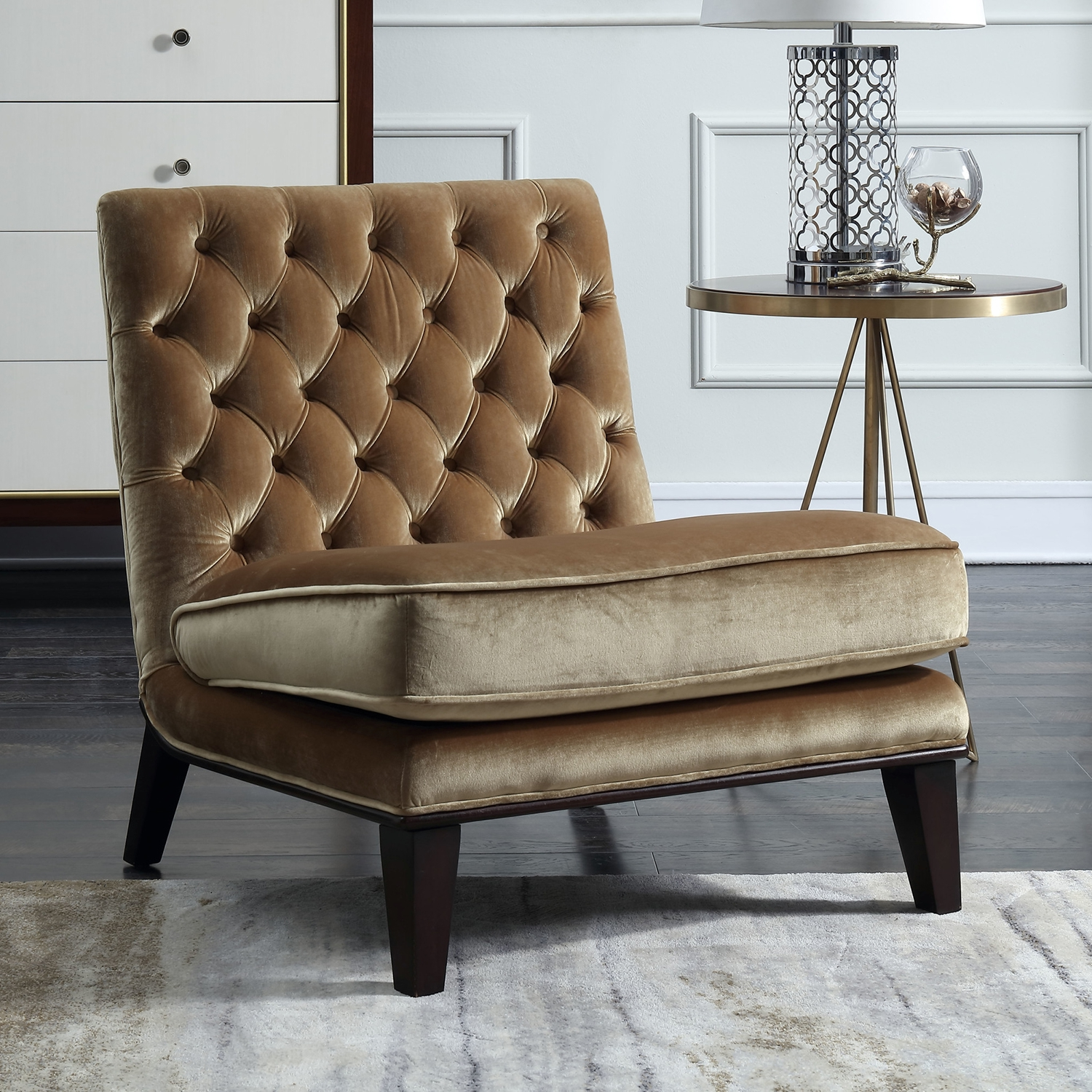 Miraculous Achilles Accent Slipper Chair In Tufted Cognac Velvet By Chic Home Theyellowbook Wood Chair Design Ideas Theyellowbookinfo