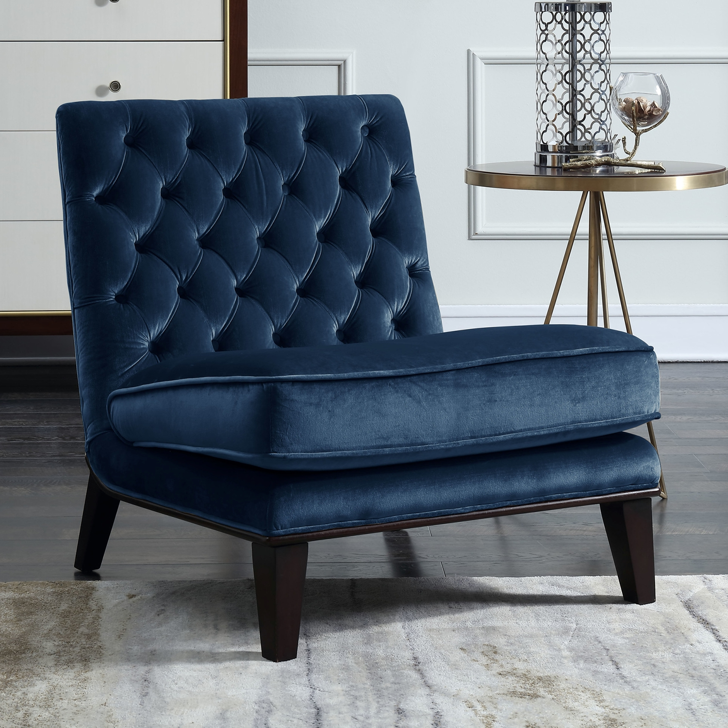 Chic Home FAC2695 DR Achilles Accent Slipper Chair in Tufted Navy