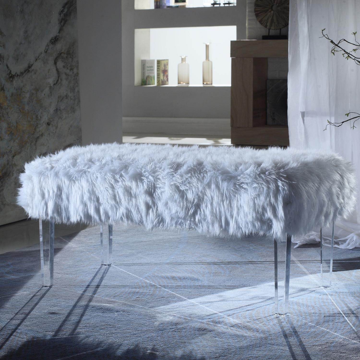 Magnificent Trento Bench In White Faux Fur On Acrylic Legs By Chic Home Uwap Interior Chair Design Uwaporg