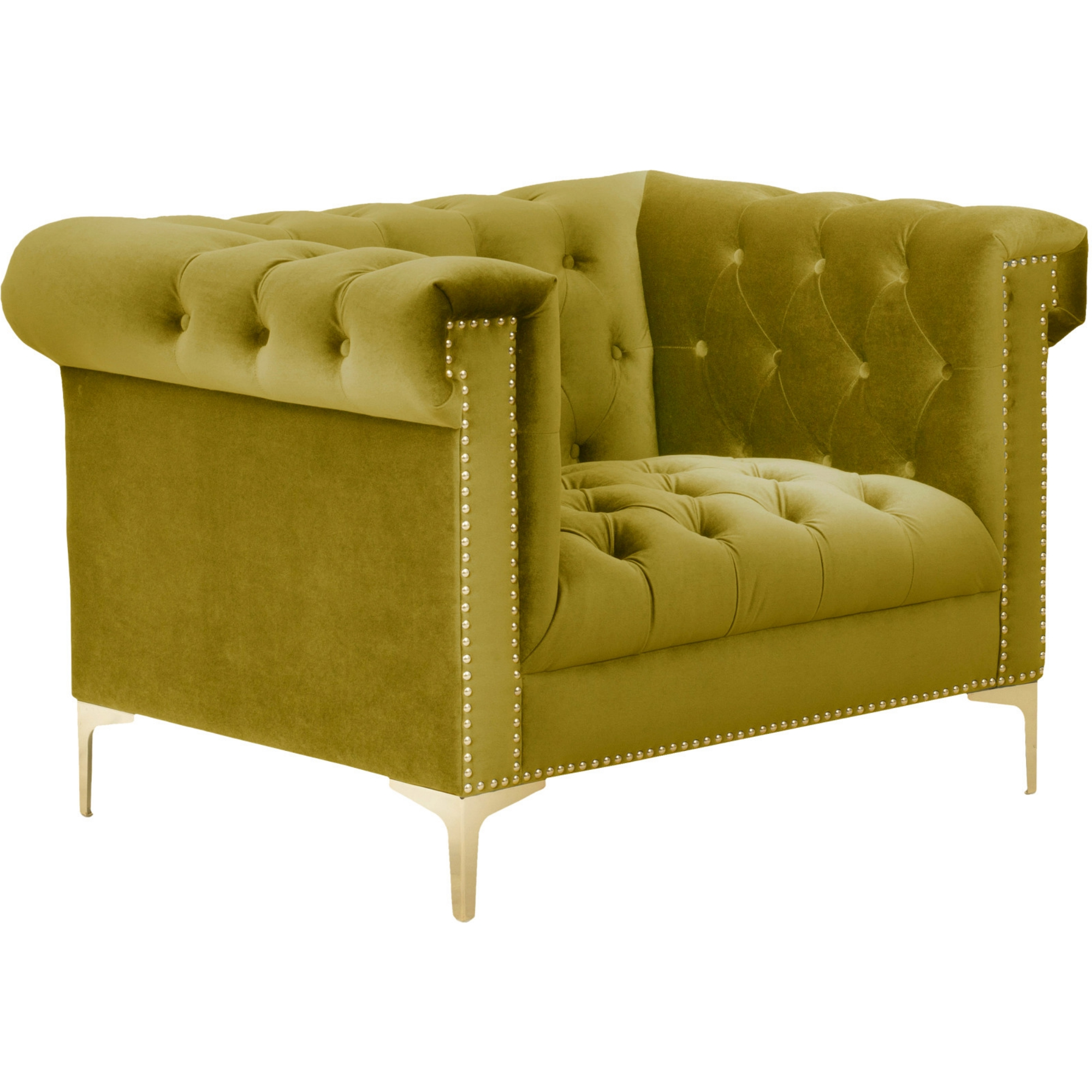chic home bea club chair in tufted velvet w gold nailhead on goldtone metal y leg
