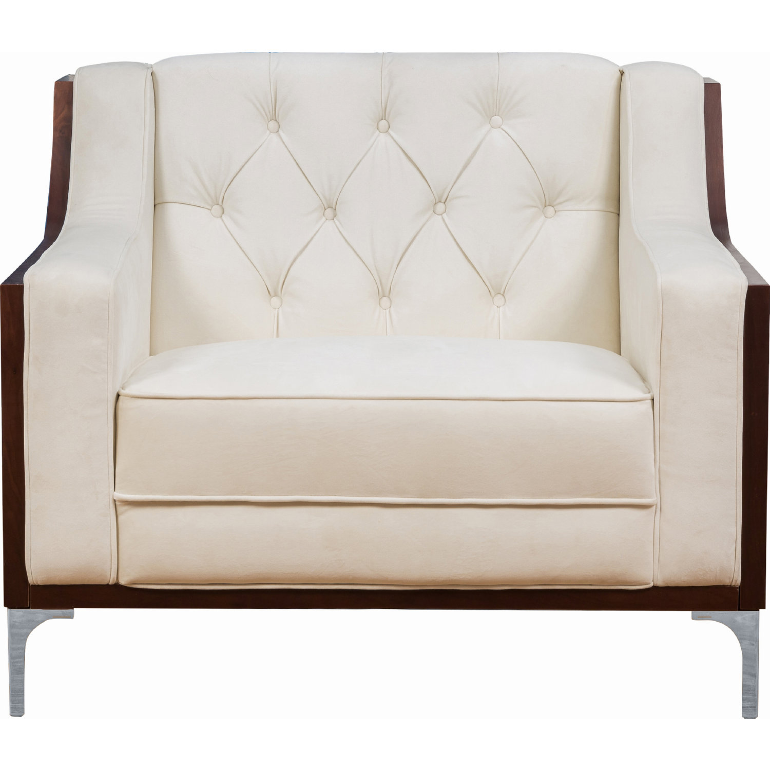 Phenomenal Clark Club Chair In Tufted Cream White Velvet On Walnut Finish Frame By Chic Home Ibusinesslaw Wood Chair Design Ideas Ibusinesslaworg