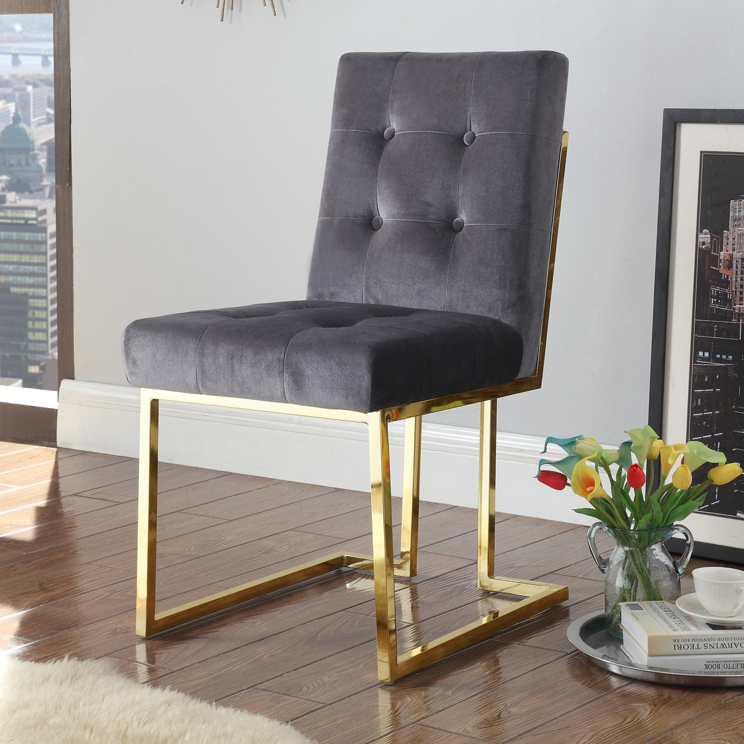 Liam Dining Chair In Tufted Grey Velvet On Brass Frame Set Of 2 By Chic Home