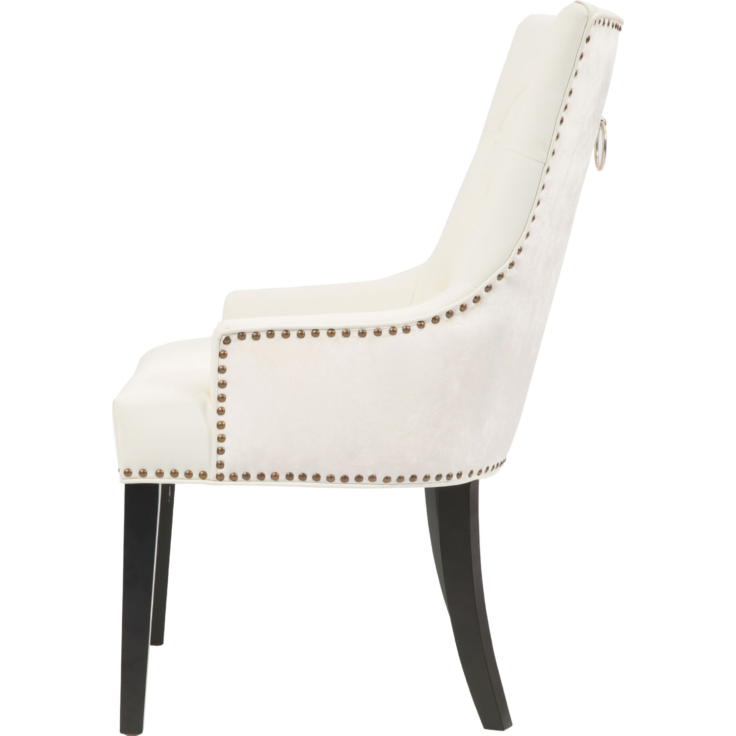 Brilliant Cadence Dining Chair In Tufted White Leatherette Velvet W Brass Nailhead Pull Set Of 2 By Chic Home Caraccident5 Cool Chair Designs And Ideas Caraccident5Info