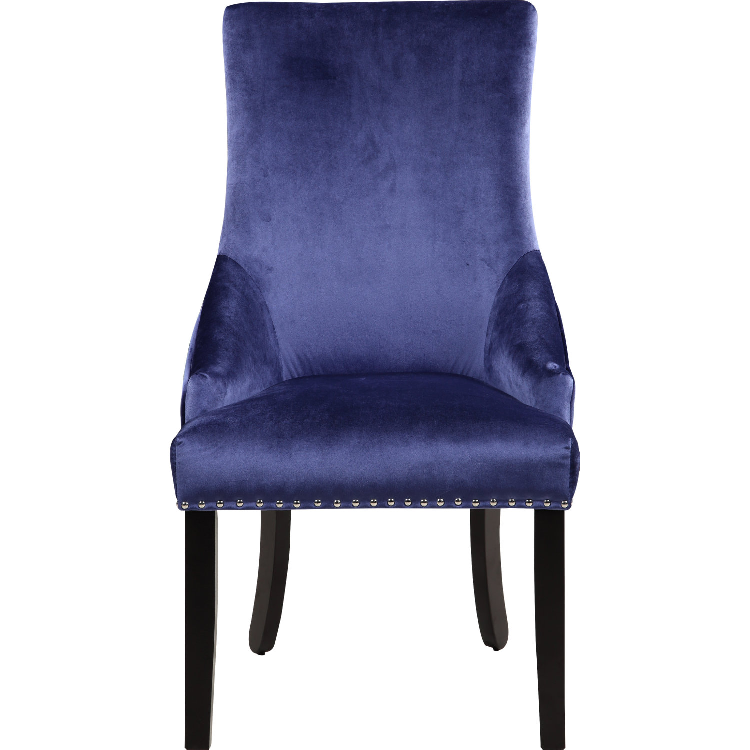 Machla Dining Chair In Navy Blue Velvet W Diamond Tufted Back Set Of 2 By Chic Home