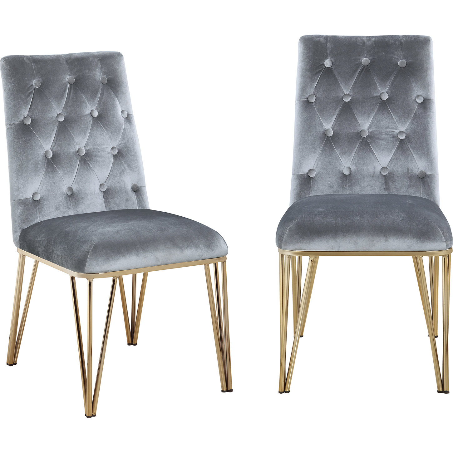 Callahan Dining Chair In Tufted Grey Velvet On Gold Metal Set Of 2 By Chic Home