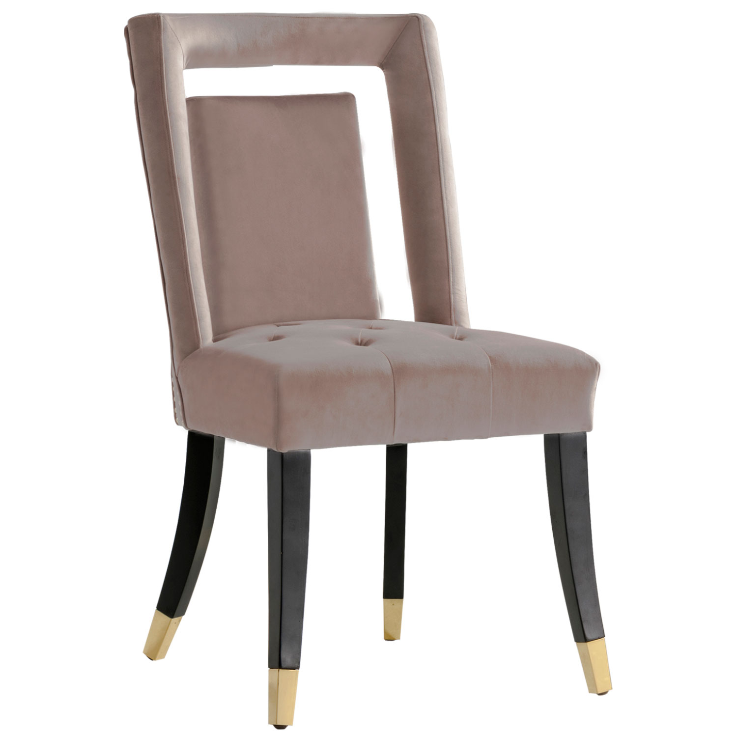 Chic Iconic Fdc9504 Dr Elsie Dining Chair In Blush Velvet Set Of 2