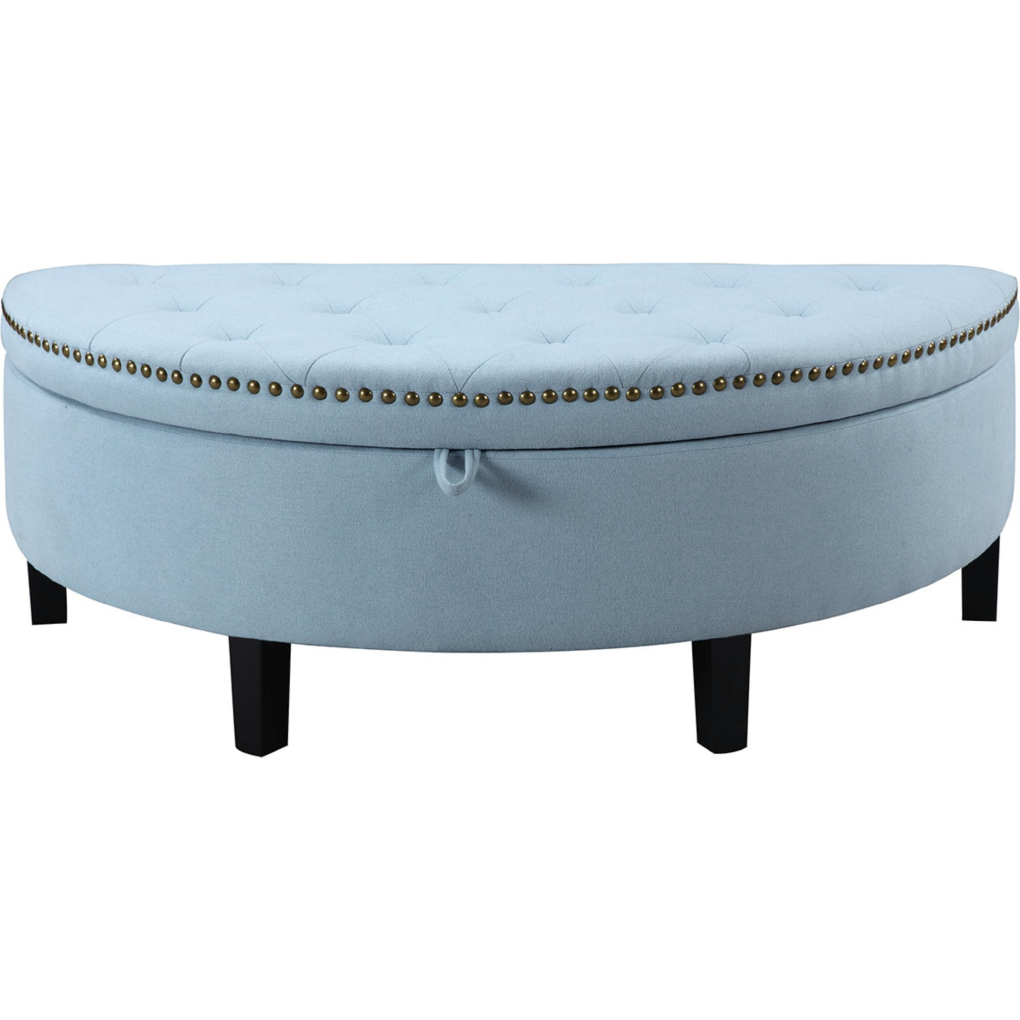 Astounding Jacqueline Half Moon Storage Ottoman In Tufted Blue Linen W Gold Nailhead By Chic Home Andrewgaddart Wooden Chair Designs For Living Room Andrewgaddartcom