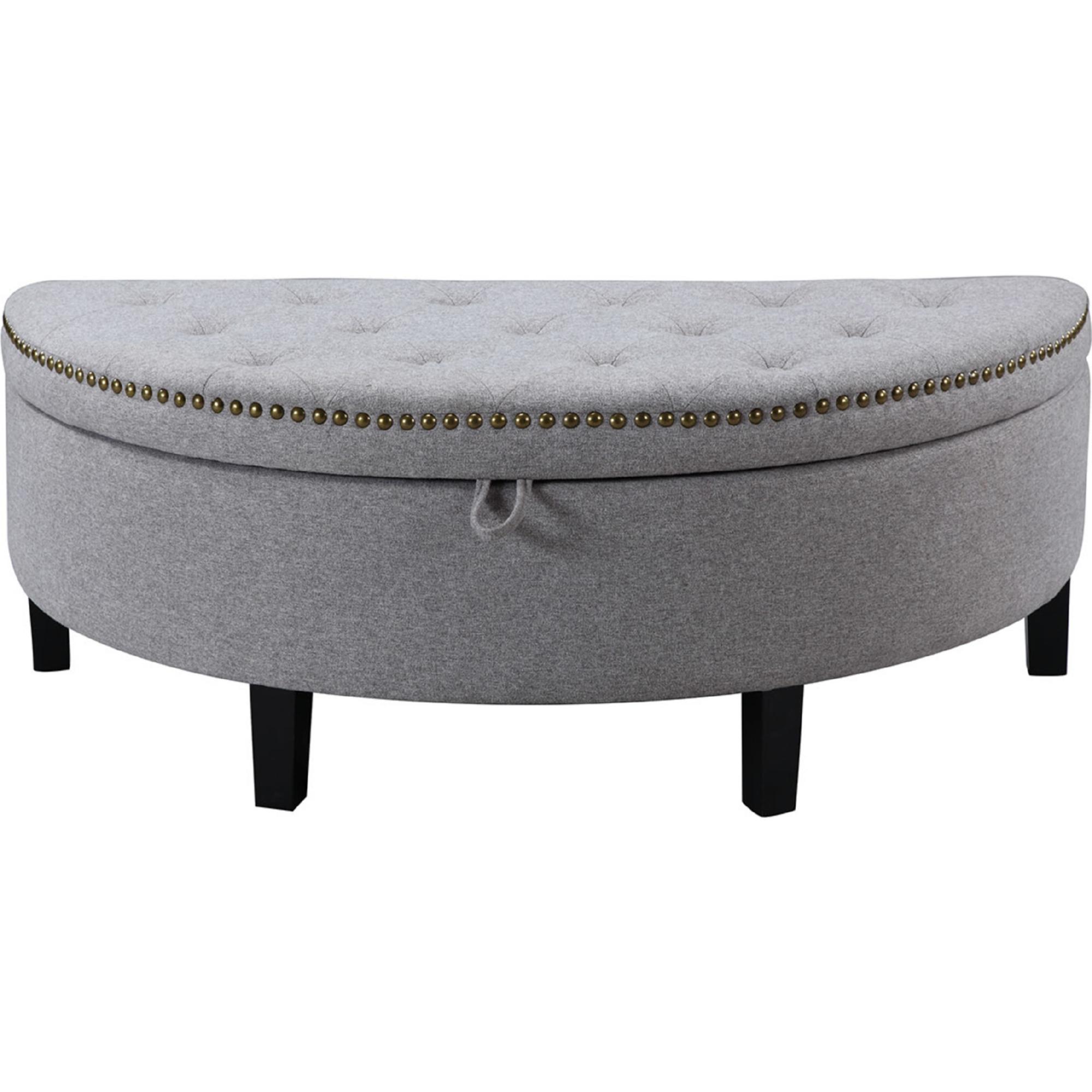 Fabulous Jacqueline Half Moon Storage Ottoman In Tufted Grey Linen W Gold Nailhead By Chic Home Customarchery Wood Chair Design Ideas Customarcherynet