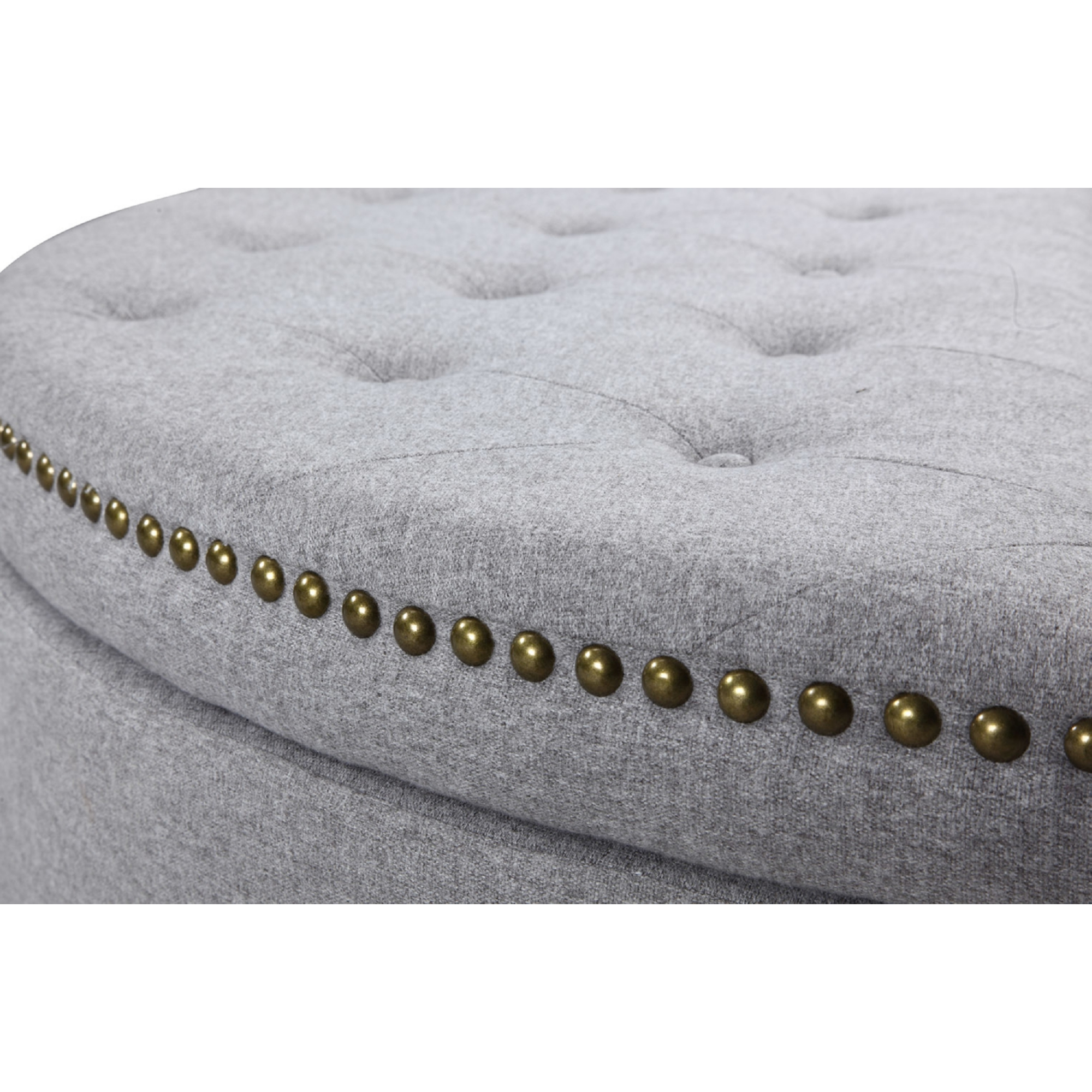 Pleasant Jacqueline Half Moon Storage Ottoman In Tufted Grey Linen W Gold Nailhead By Chic Home Bralicious Painted Fabric Chair Ideas Braliciousco