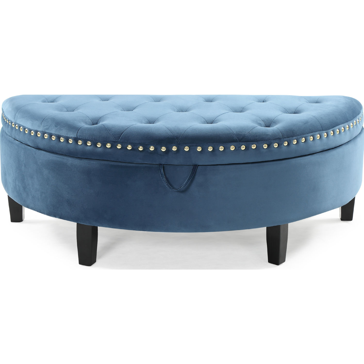 Fabulous Jacqueline Half Moon Storage Ottoman In Tufted Teal Blue Velvet By Chic Home Creativecarmelina Interior Chair Design Creativecarmelinacom