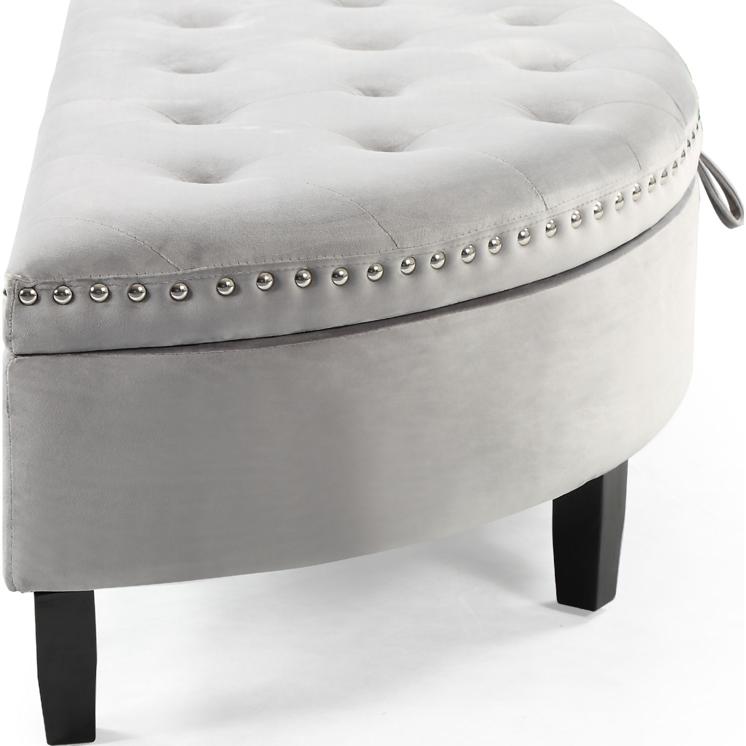 Incredible Jacqueline Half Moon Storage Ottoman In Tufted Silver Velvet By Chic Home Beatyapartments Chair Design Images Beatyapartmentscom