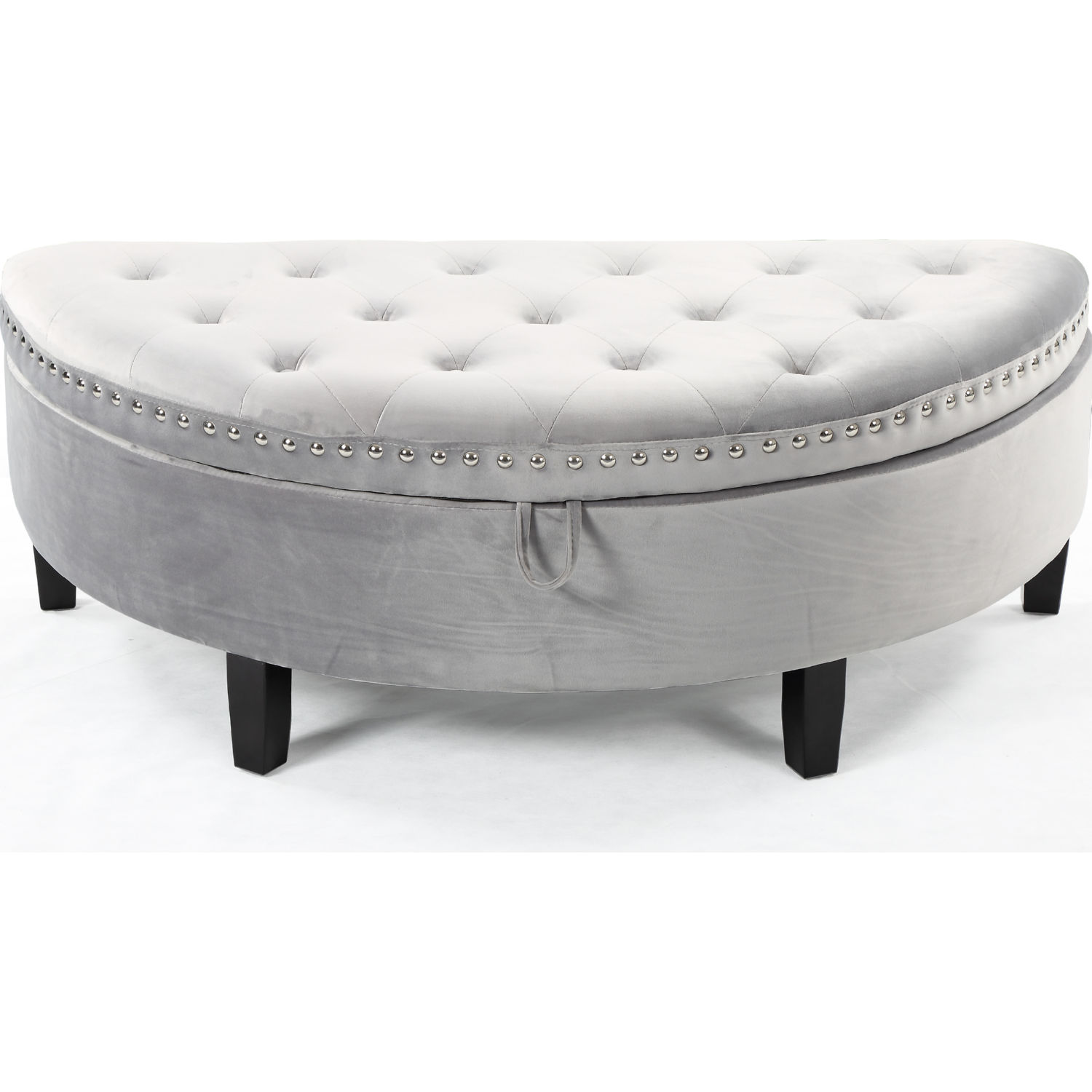 Swell Jacqueline Half Moon Storage Ottoman In Tufted Silver Velvet By Chic Home Beatyapartments Chair Design Images Beatyapartmentscom