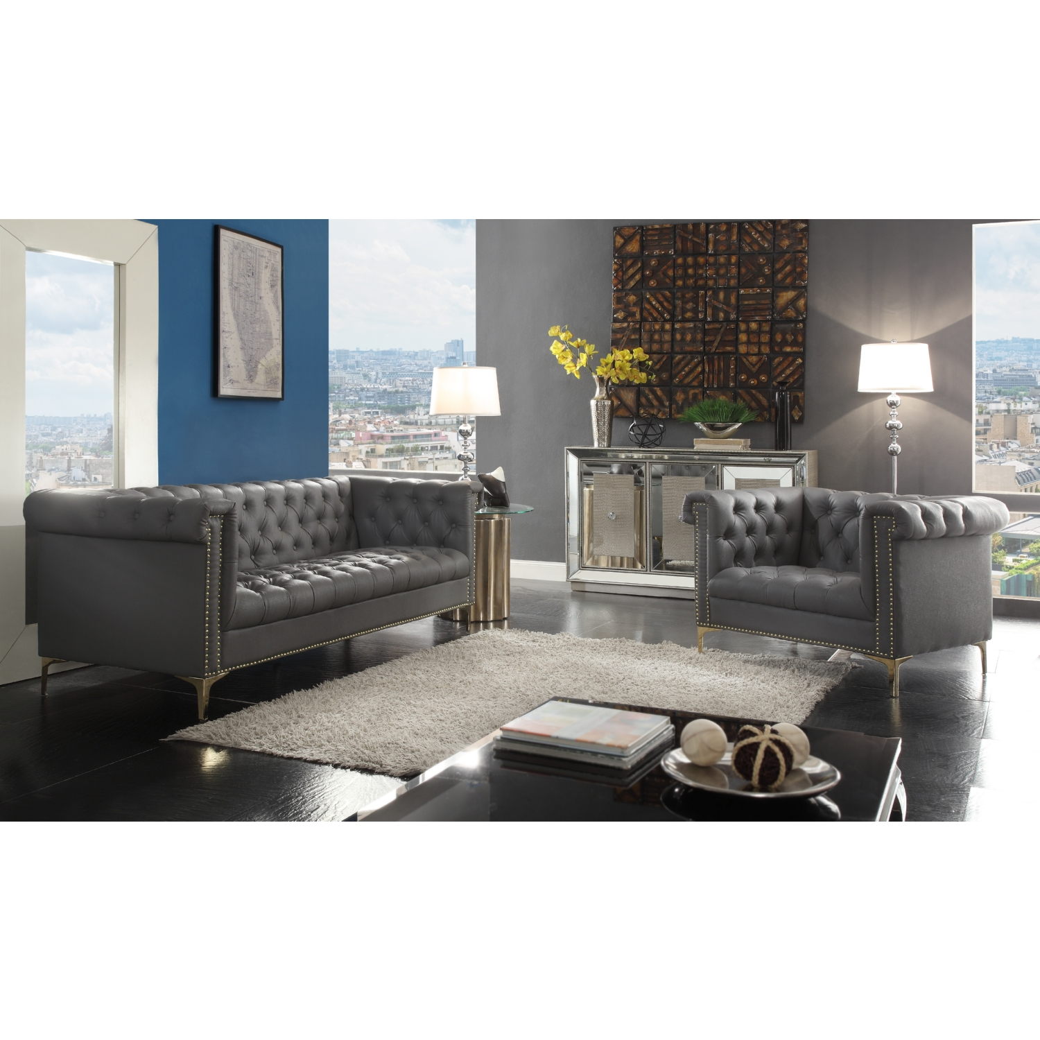 Chic Home FSA2573 Winston Chesterfield Style Sofa in Tufted Grey