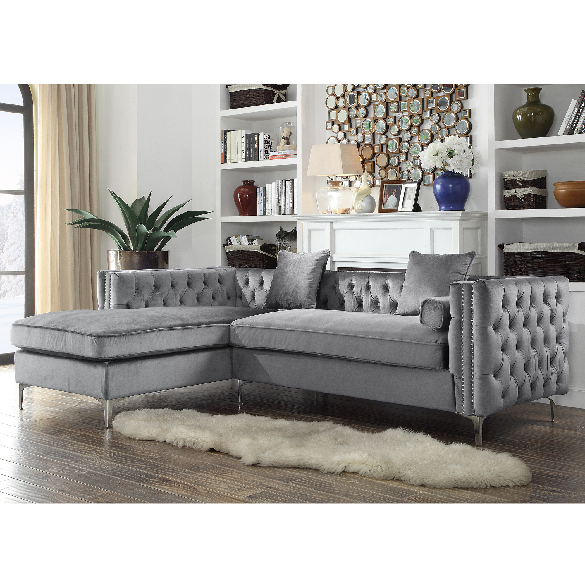 sofa with gray velvet lounge chaise sectional grey luxury design of