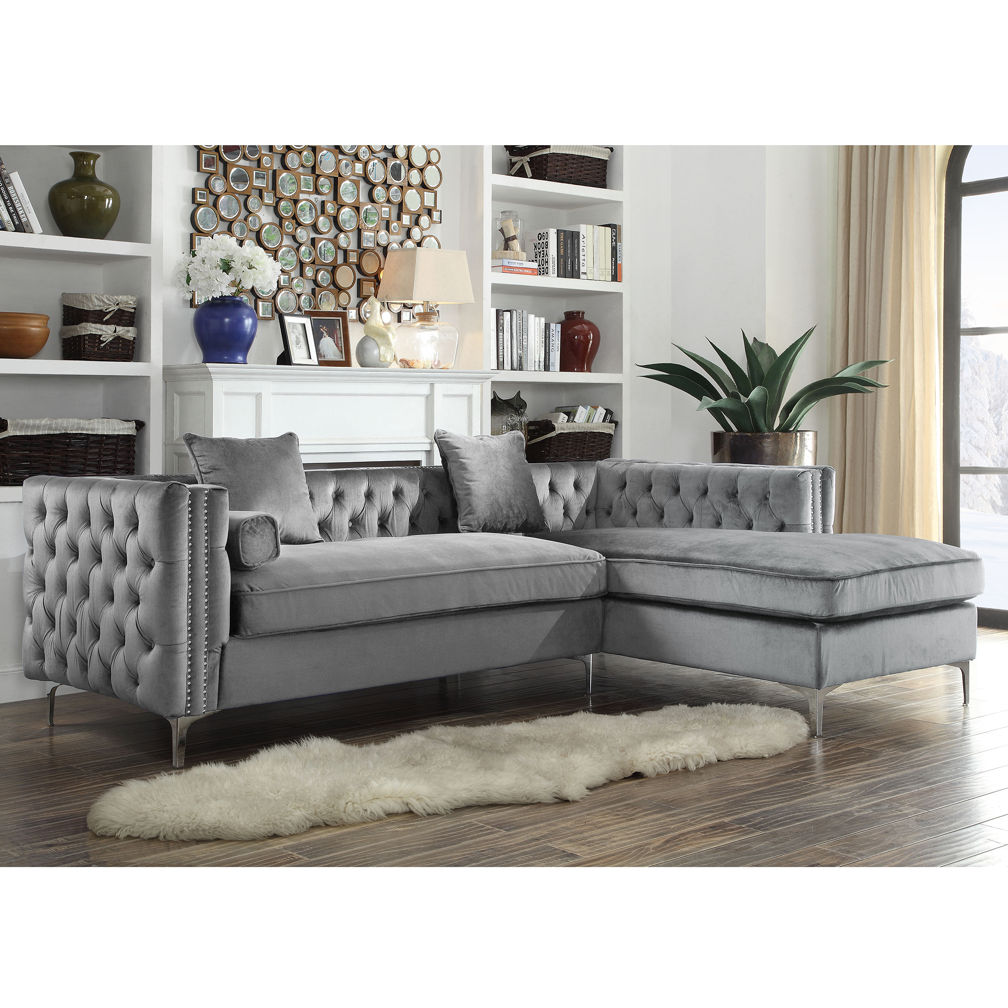 Chic Home FSA2581 Da Vinci Sectional Sofa w Right Hand Chaise in