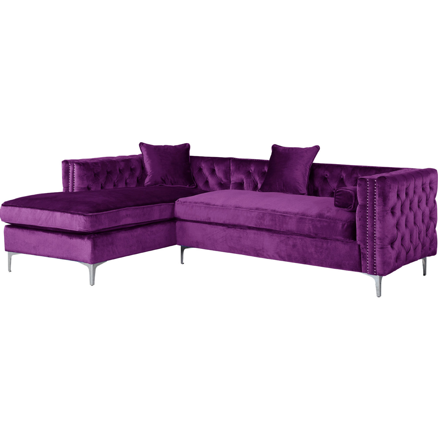 Wondrous Da Vinci Sectional Sofa W Left Chaise In Tufted Purple Velvet W Nailhead By Chic Home Cjindustries Chair Design For Home Cjindustriesco