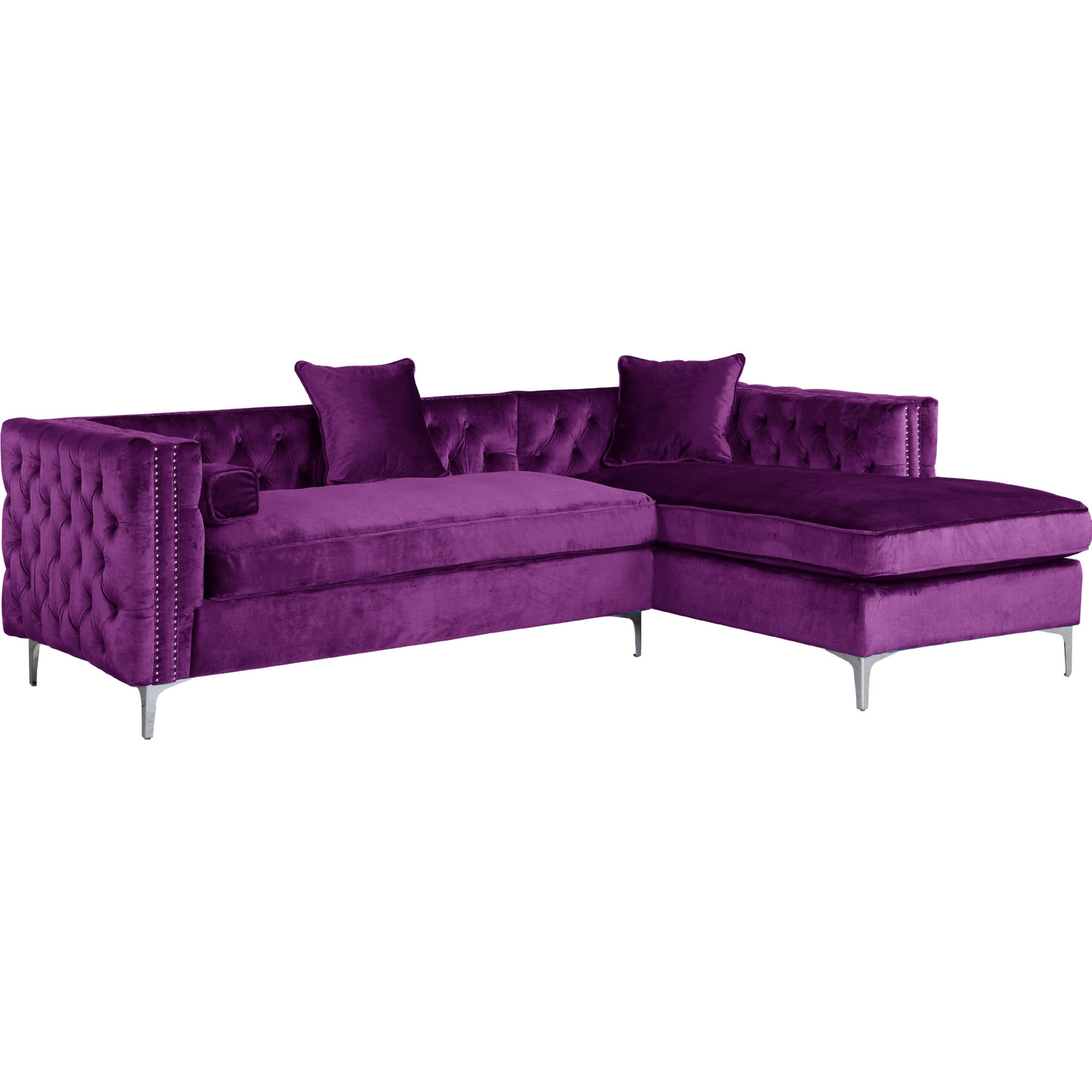 Sensational Da Vinci Sectional Sofa W Right Chaise In Tufted Purple Velvet W Nailhead By Chic Home Cjindustries Chair Design For Home Cjindustriesco