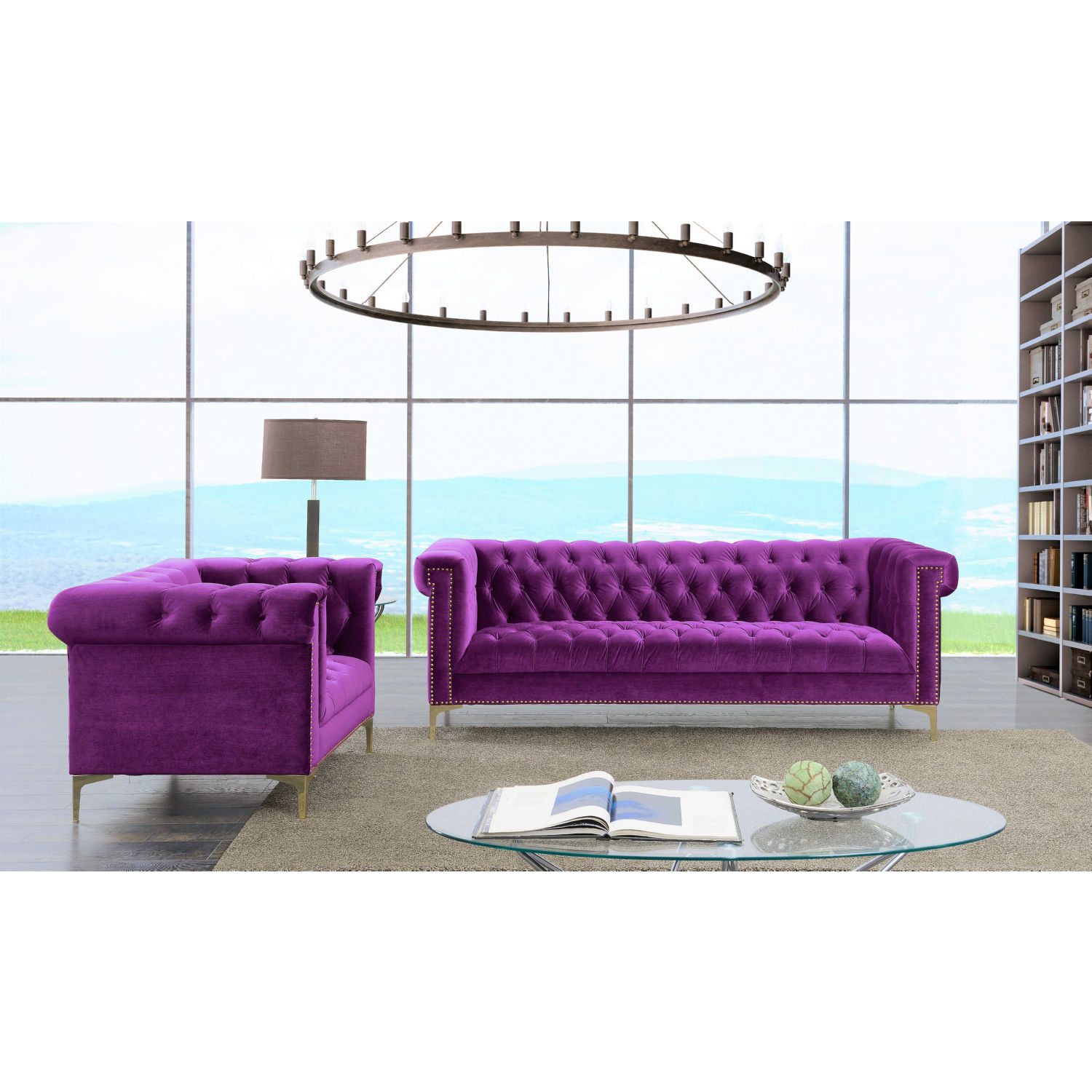 Chic Home FSA2613 DR Bea Sofa in Tufted Violet Velvet w Gold