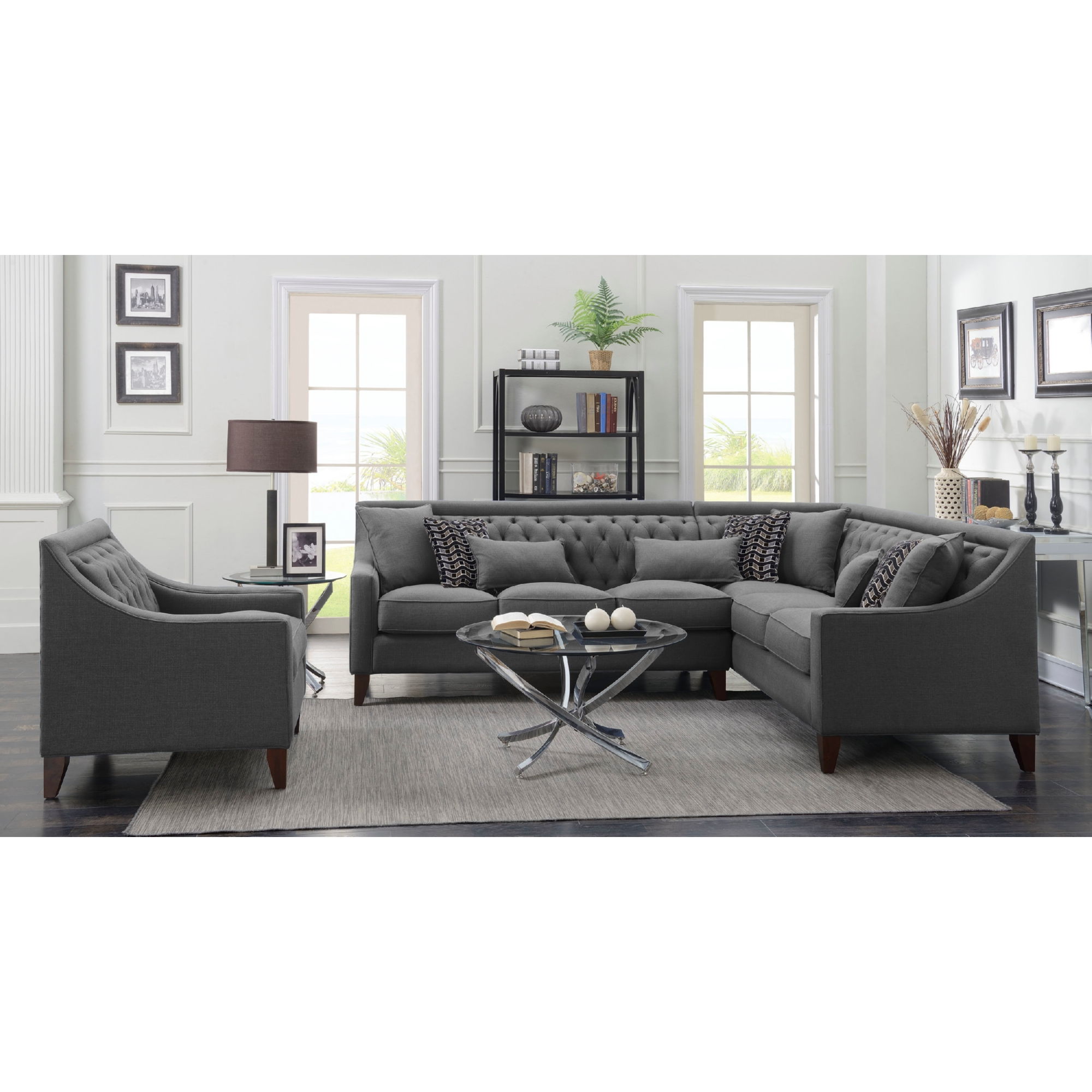Chic Home FSA2678 DR Aberdeen Right Sectional Sofa in Grey Linen