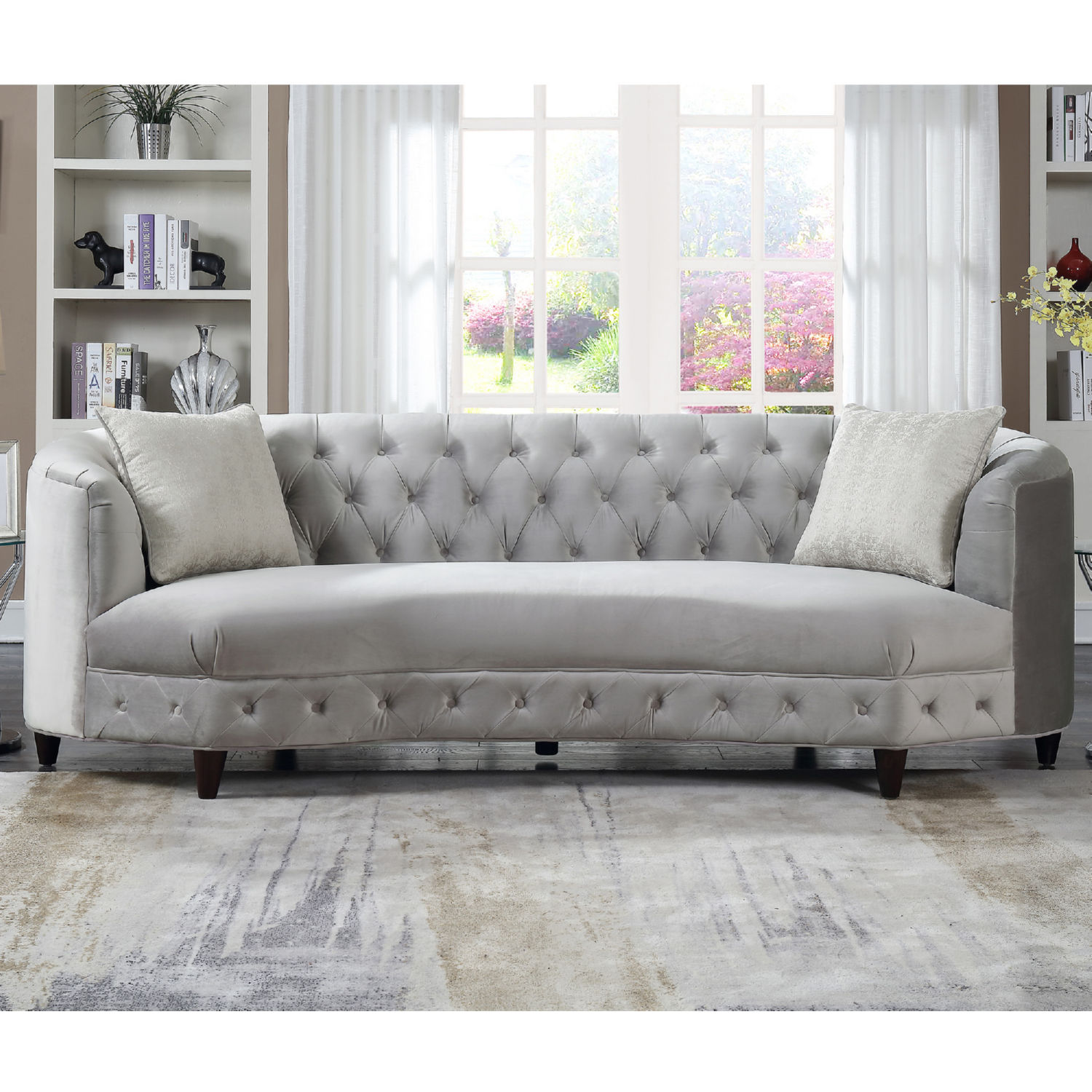 Chic Home FSA2804 DR Leeba Kidney Shaped Sofa in Tufted Grey