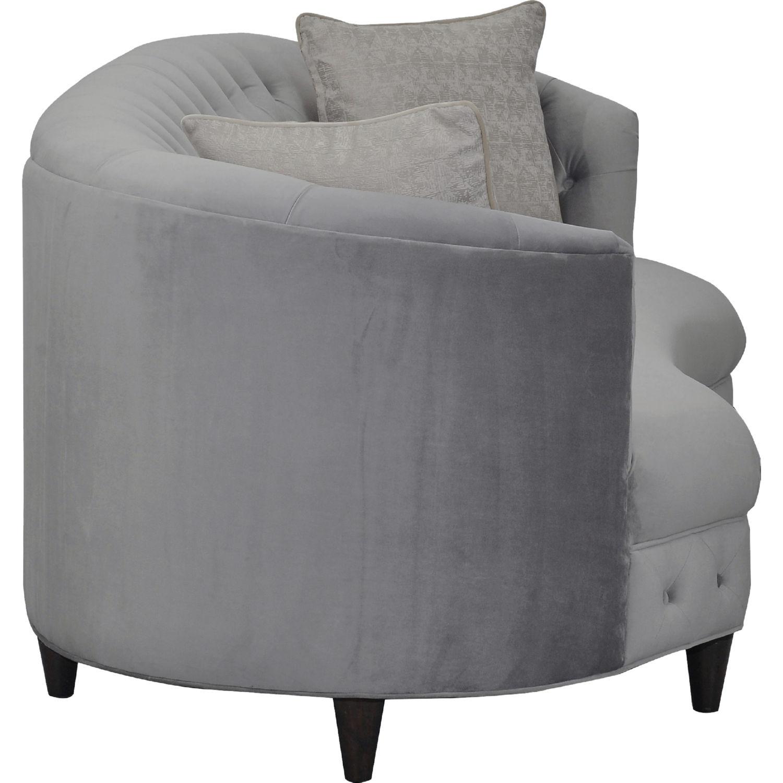 Leeba Kidney Shaped Sofa In Tufted Grey Velvet On Espresso Cone Legs