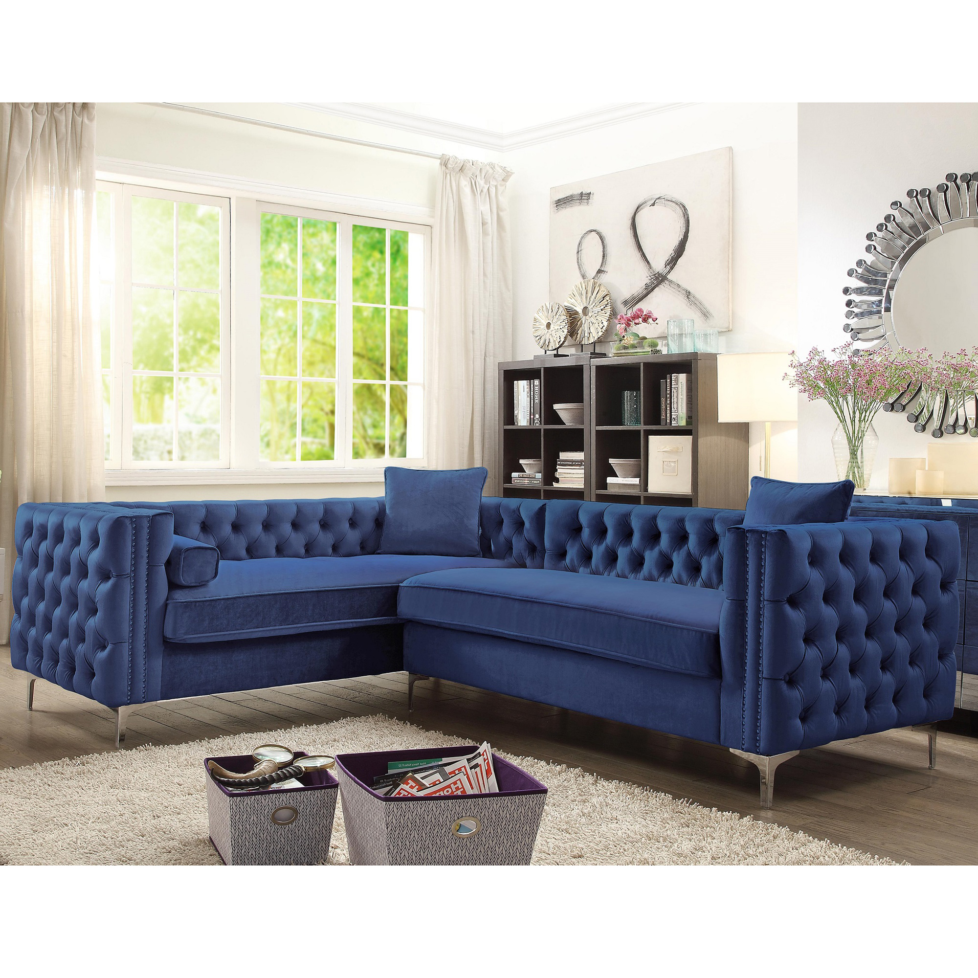 Miraculous Mozart Left Sectional Sofa W Right Hand Chaise In Tufted Navy Velvet By Chic Home Gamerscity Chair Design For Home Gamerscityorg