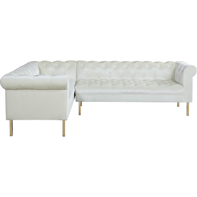 Chic Iconic FSA9205-DR Giovanni Left Sectional Sofa In Tufted Beige Velvet On Gold Legs