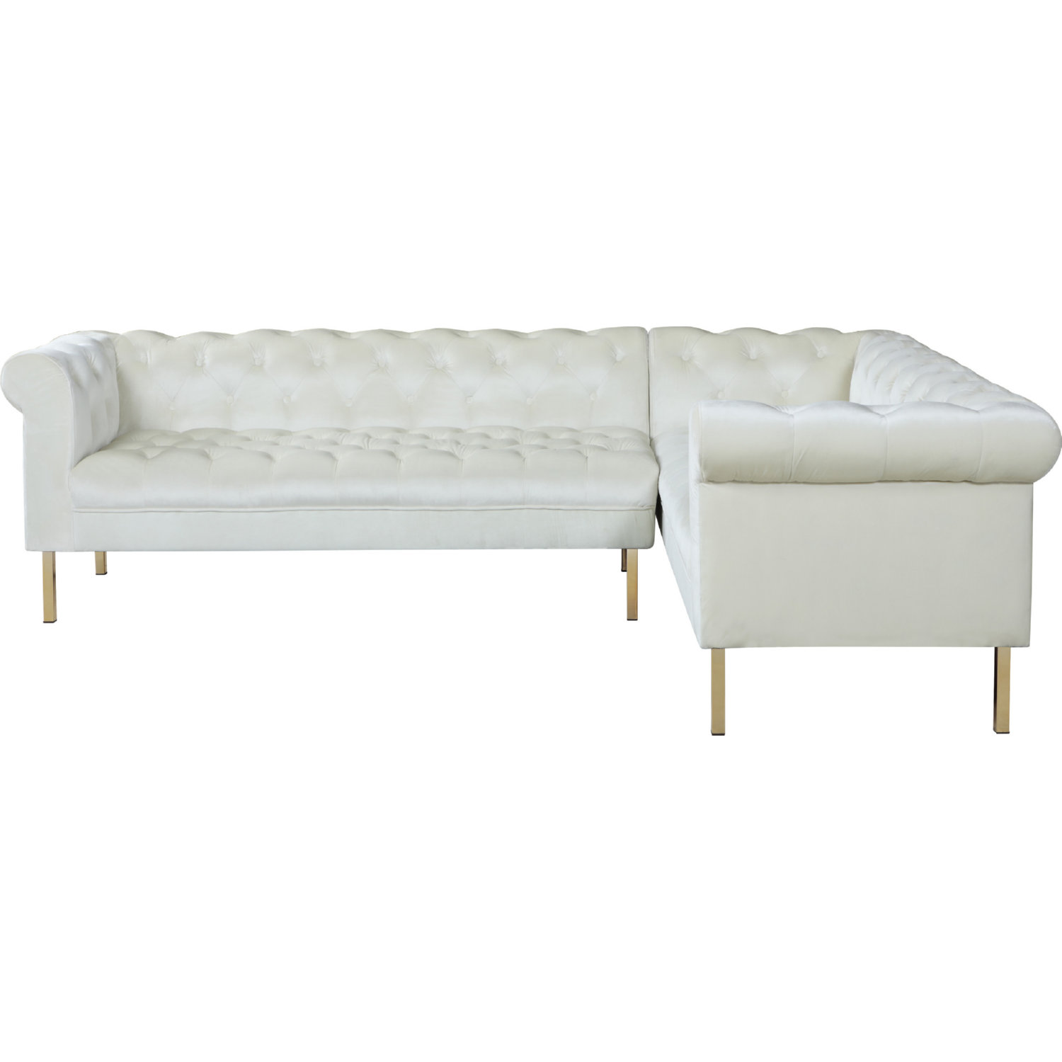 Chic Iconic FSA9206-DR Giovanni Right Sectional Sofa In Tufted Beige Velvet On Gold Legs