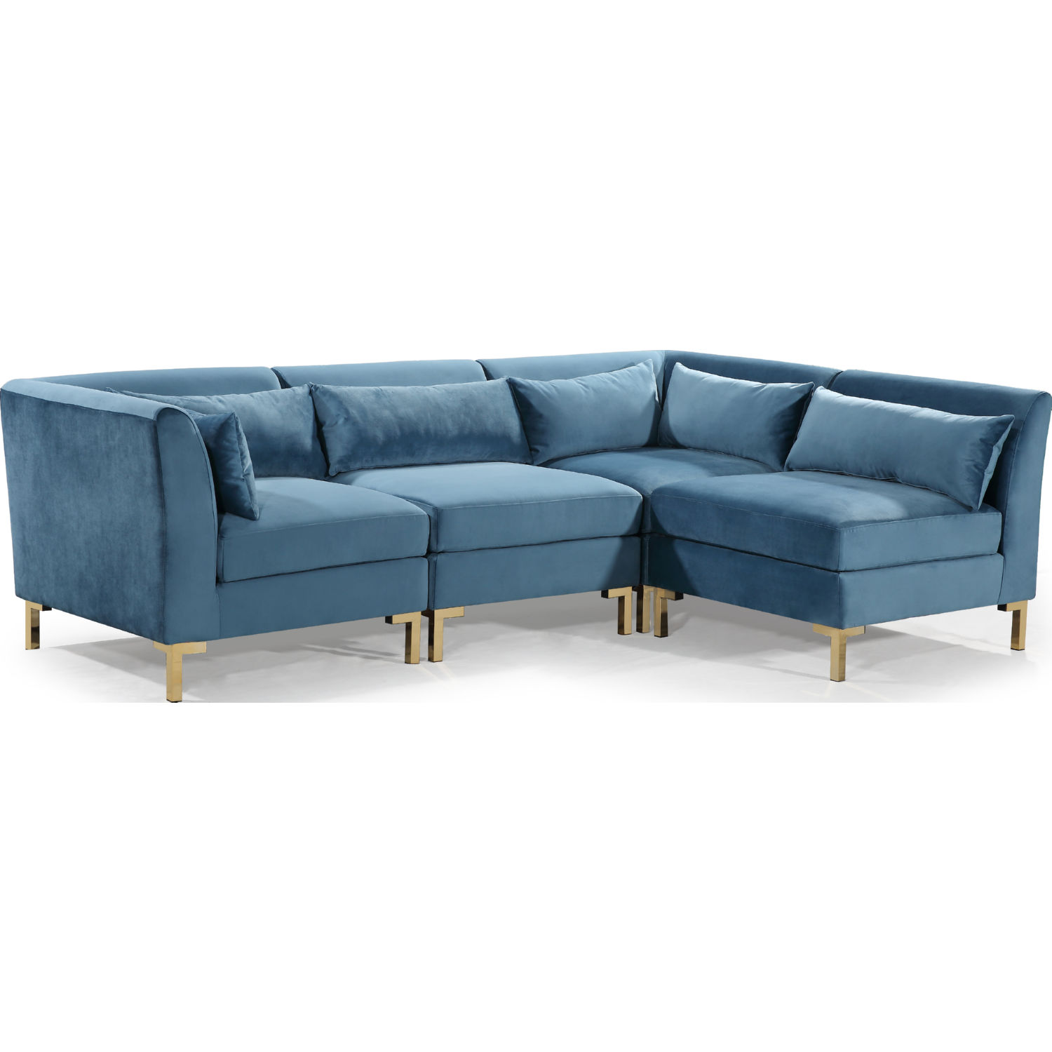 Surprising Girardi Modular Sectional Sofa In Teal Velvet On Gold Metal Legs By Chic Home Pabps2019 Chair Design Images Pabps2019Com