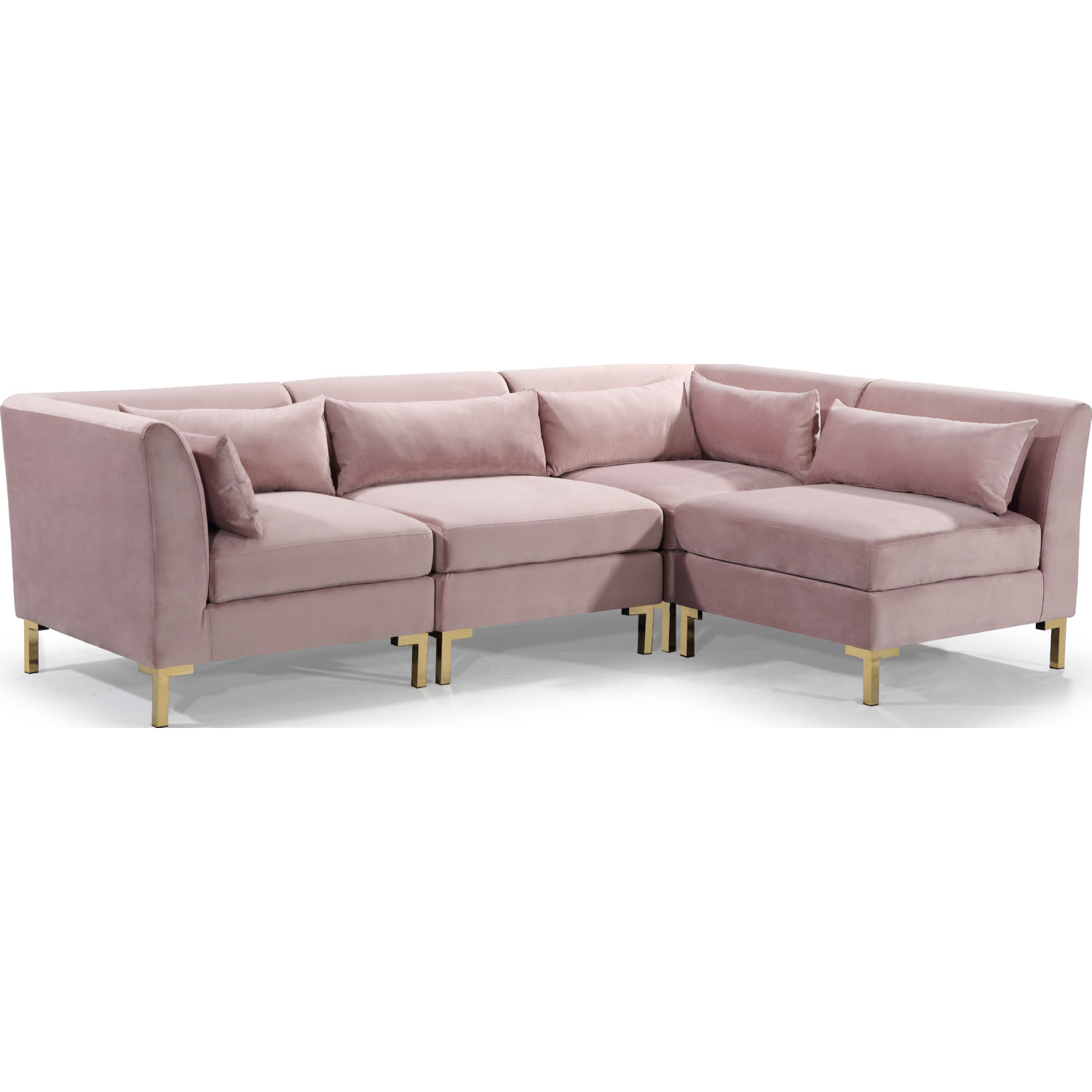 Girardi Modular Sectional Sofa in Blush Velvet on Gold Metal Legs by Chic  Home