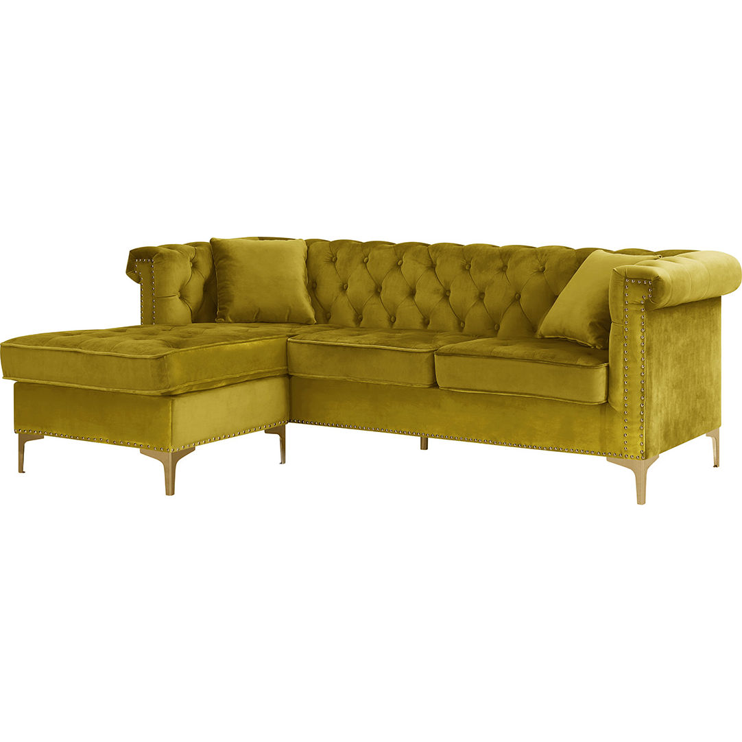 Chic Iconic Fsa9510 Dr Levin Sectional Sofa W Left Chaise In Tufted Gold Velvet Gold