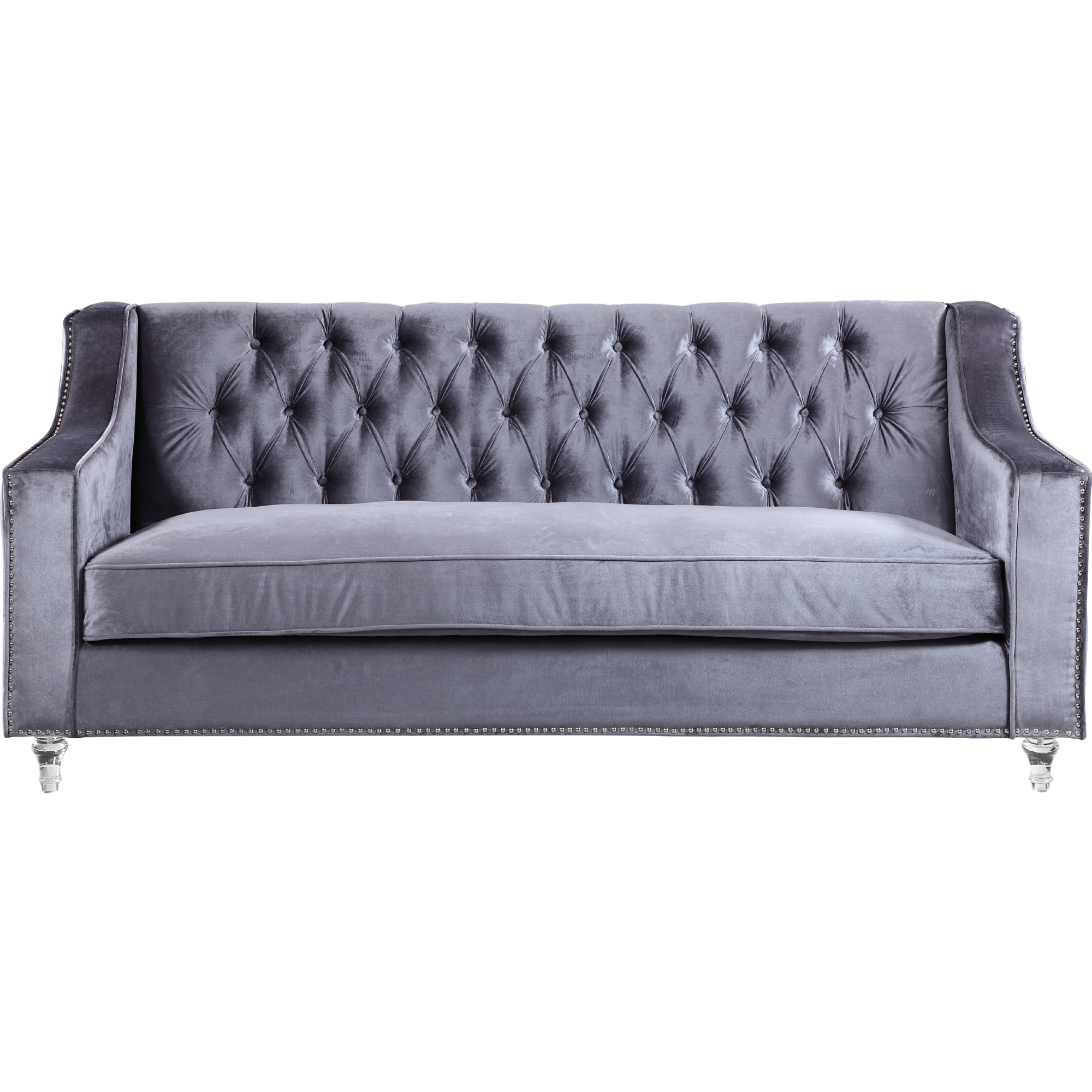 Chic Home FSA2579 Dylan Sofa in Tufted Grey Velvet on Round