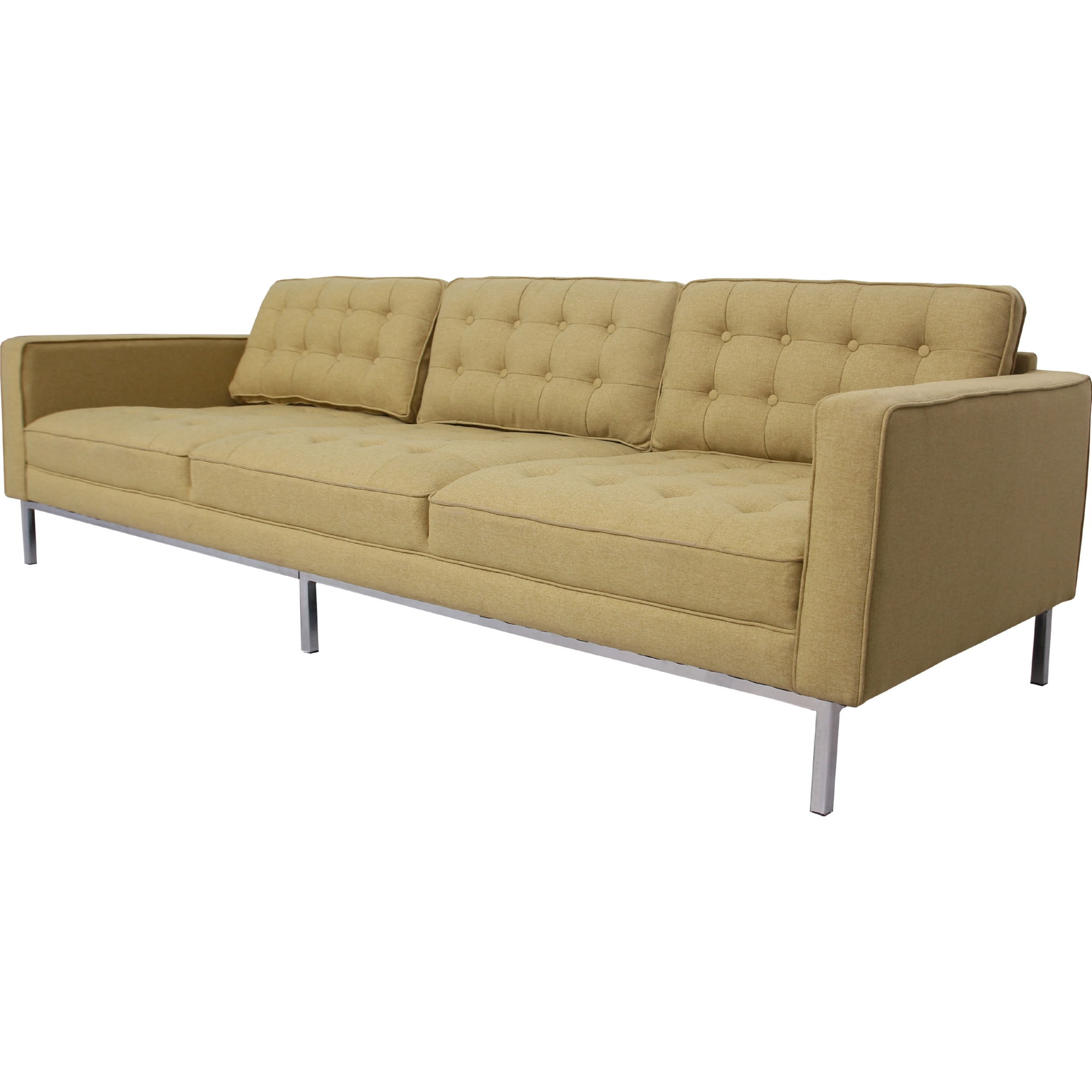 Draper Sofa in Tufted Yellow Linen on Metal Legs by Chic Home